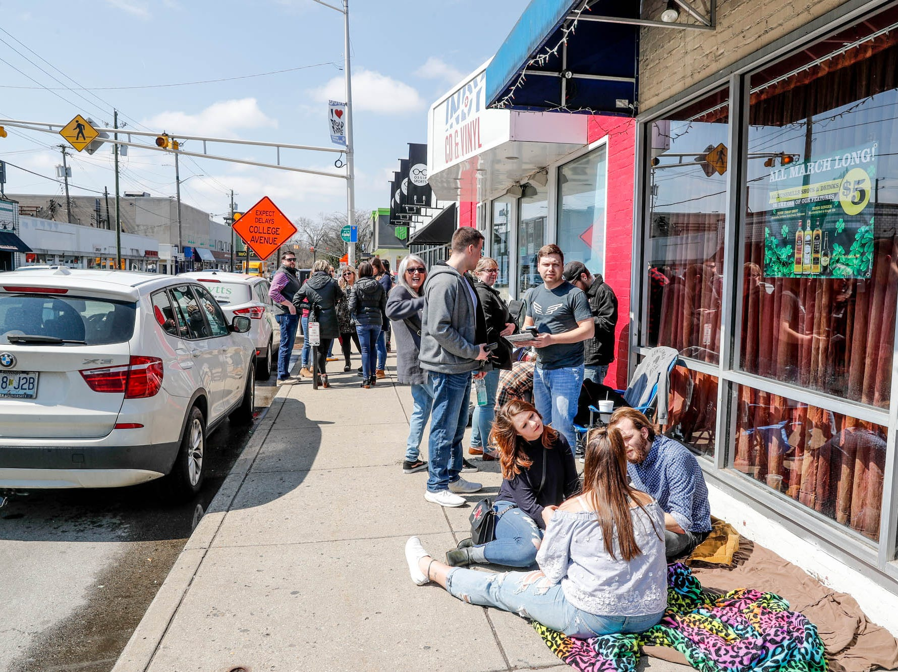 Mumford & Sons fans wait outside since early this morning to be first in line for the band's special in-store appearance at Indy CD & Vinyl on Monday, March 25, 2019.