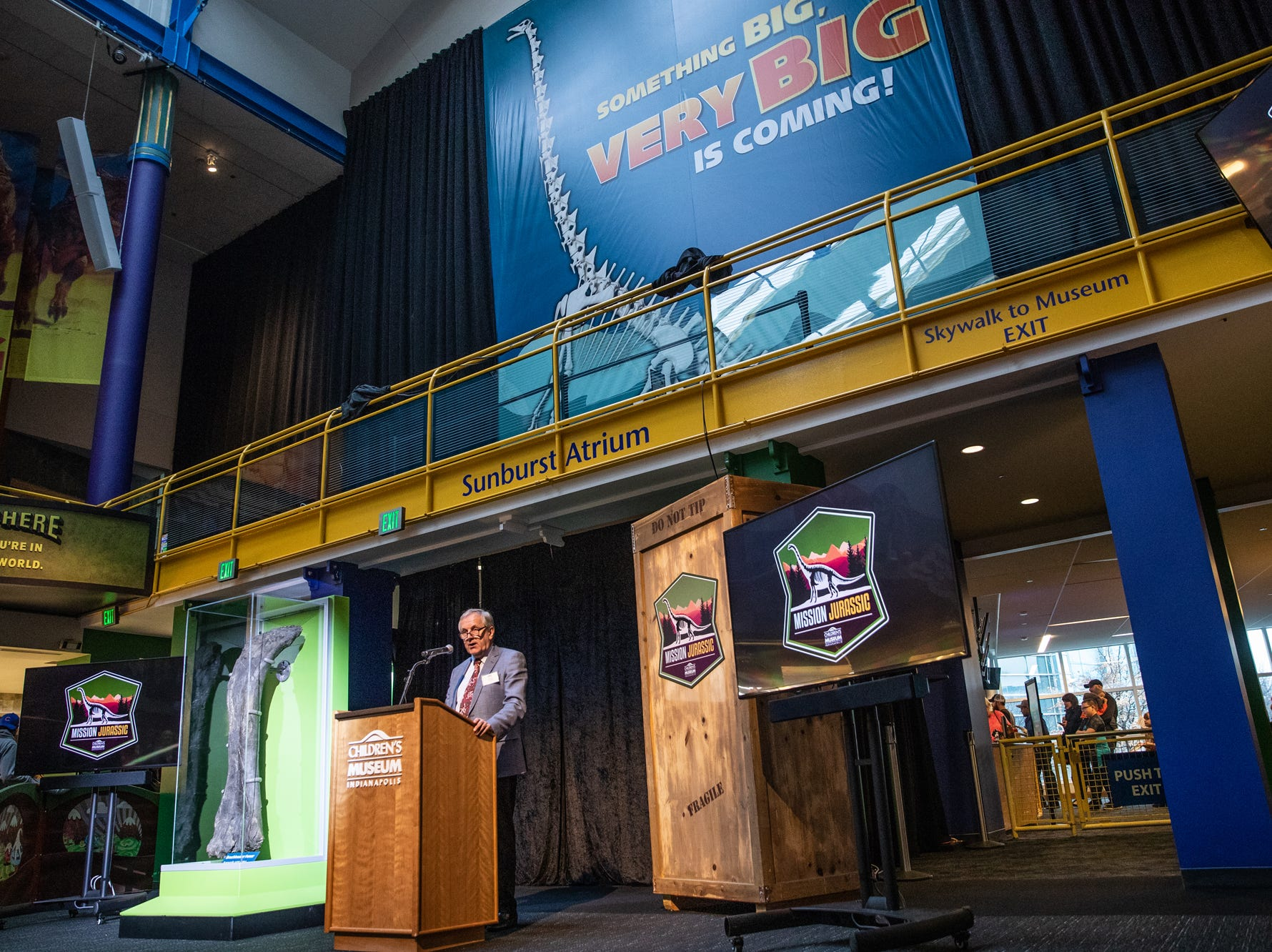 Professor Richard Herrington, the acting director of science at The Natural History Museum in London, speaks about a newly discovered femur of a Brachiosaur during a press conference at the Children's Museum of Indianapolis on Monday, March 25, 2019. The Children's Museum of Indianapolis, who will serve as Mission Jurassic leader, alongside The Natural History Museum, Naturalis Biodiversity Center and the University of Manchester, will work together to excavate the fossil-rich plot of land in northern Wyoming where the femur was found.