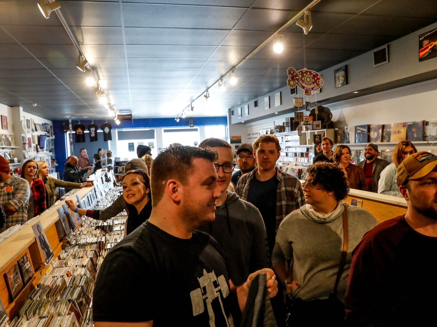Mumford & Sons fans pack the store for the the band's special in-store appearance at Indy CD & Vinyl on Monday, March 25, 2019.