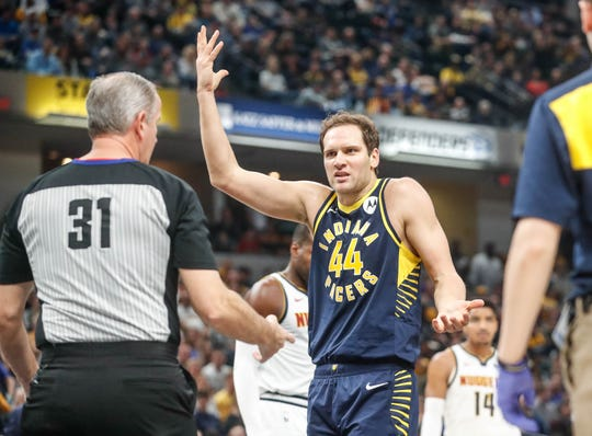 Indiana Pacers forward Bojan Bogdanovic (44) argues a call after being fouled by Denver Nuggets Jamal Murray (27) during a game between the Indiana Pacers and the Denver Nuggets at Bankers Life Fieldhouse on Sunday, March 24, 2019.