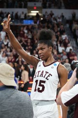 Mississippi State's Teaira McCowan (15). Mississippi State played Clemson in an NCAA Women's Basketball Tournament second round game on Sunday, March 24, 2019 at Humphrey Coliseum.