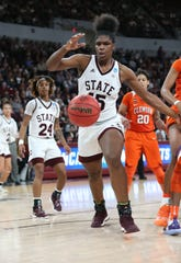 Mississippi State's Teaira McCowan (15) reaches for the loose ball in the second half of Mississippi State's second round NCAA Tournament win against Clemson on Sunday, March 24, 2019 at Humphrey Coliseum.