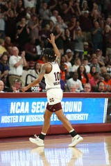 Mississippi State's Jazzmun Holmes (10) leaves the floor at Humphrey Coliseum. Mississippi State played Clemson in an NCAA Women's Basketball Tournament second round game on Sunday, March 24, 2019 at Humphrey Coliseum.