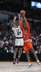 Mississippi State's Jordan Danberry (24) and Clemson's Destiny Thomas (1) fiight for control of the ball. Mississippi State played Clemson in an NCAA Women's Basketball Tournament second round game on Sunday, March 24, 2019 at Humphrey Coliseum.