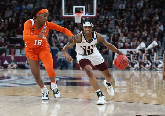 Mississippi State's Jazzmun Holmes (10) runs a play in the first half. Mississippi State played Clemson in an NCAA Women's Basketball Tournament second round game on Sunday, March 24, 2019 at Humphrey Coliseum.