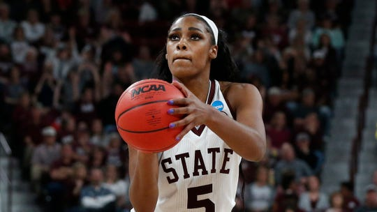 Mississippi State forward Anriel Howard (5) shoots a free-throw against Clemson during the second half of a second-round women's college basketball game against Clemson in the NCAA Tournament in Starkville, Miss., Sunday, March 24, 2019. Mississippi State won 85-61.