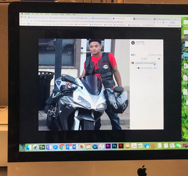 This photo of a computer monitor shows Justin Collins in a Facebook post.