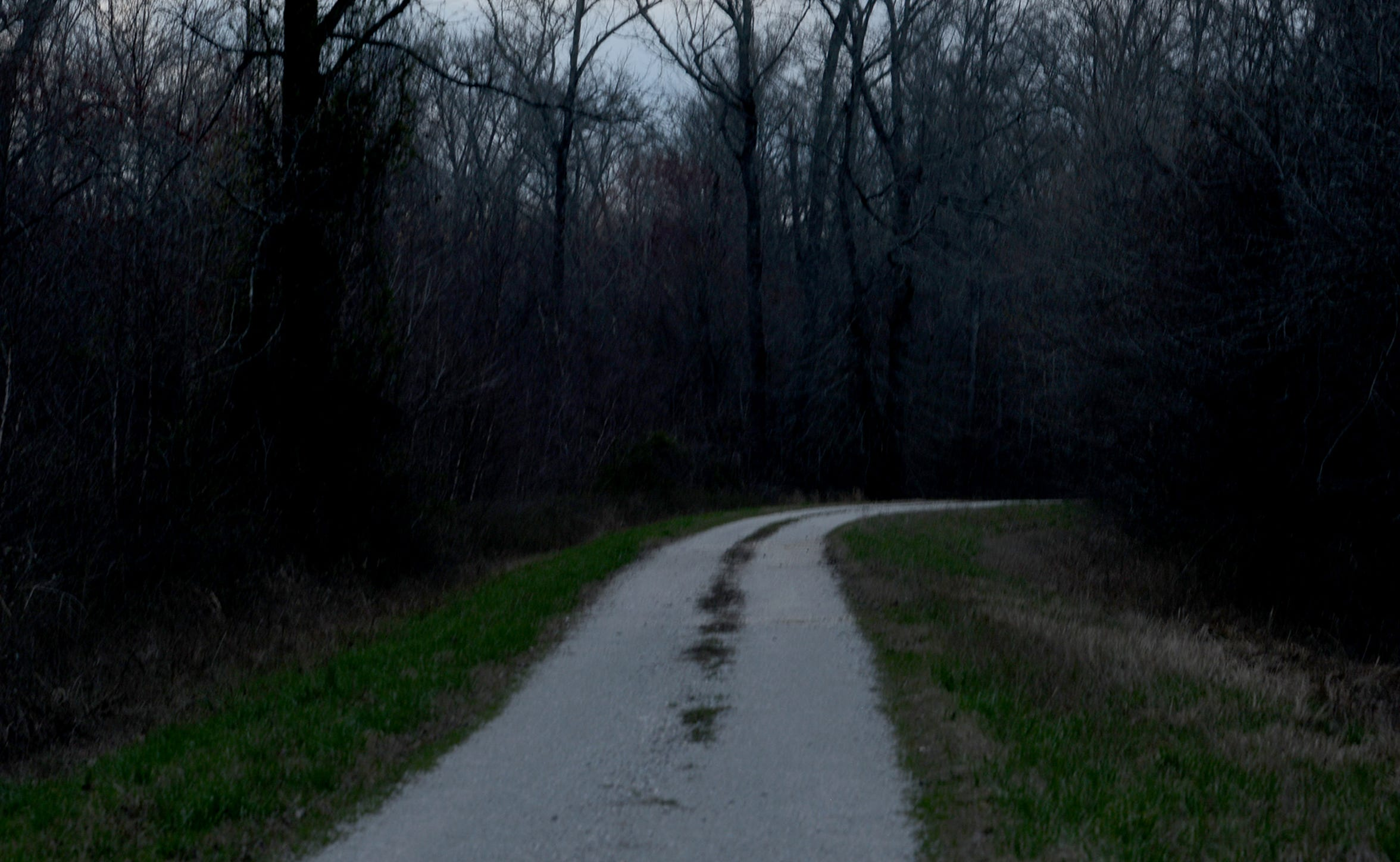 Dusk falls on Windrow Road at the Hatchie National Wildlife Refuge. Donna Perry's body was found at the intersection of Powell and Hart Lake roads — a location no longer shown on maps — at the refuge in 1986.