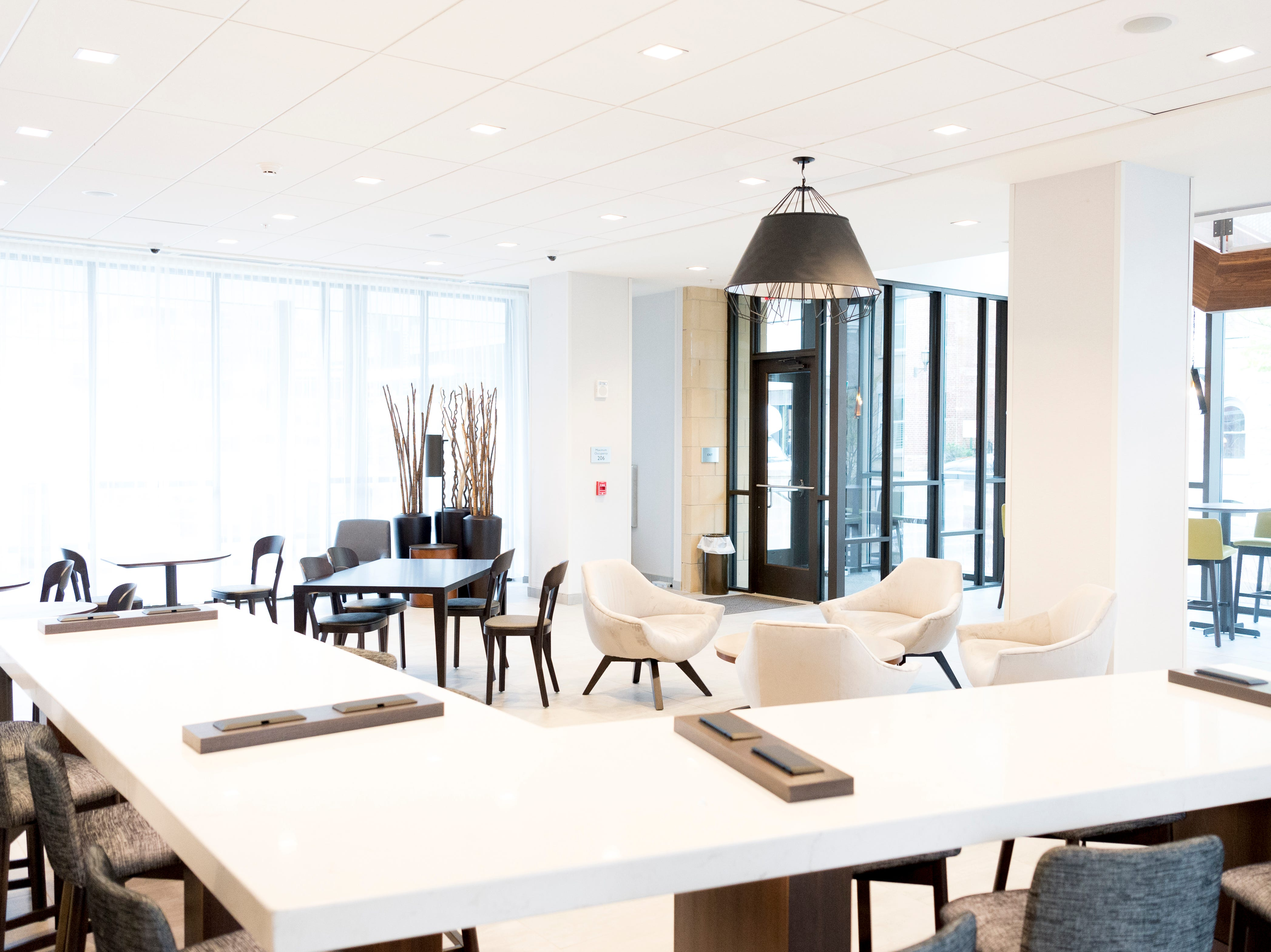 The lounge inside the new Courtyard and Residence Inn by Marriott at 210 Church Ave. in Knoxville, Tennessee on Monday, March 25, 2019. The hotel is the first of its kind in Knoxville to offer two different tiers of hospitality within the same building.