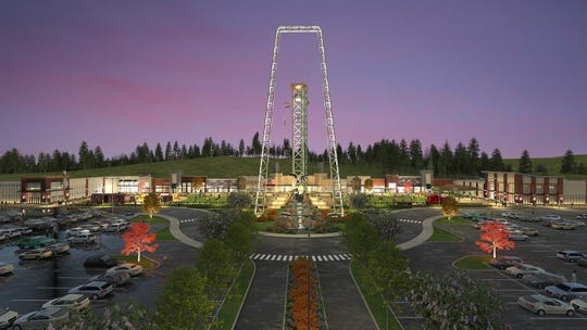 The Mountain Monster thrill ride will front the Tower Shops at Mountain Mile in Pigeon Forge.