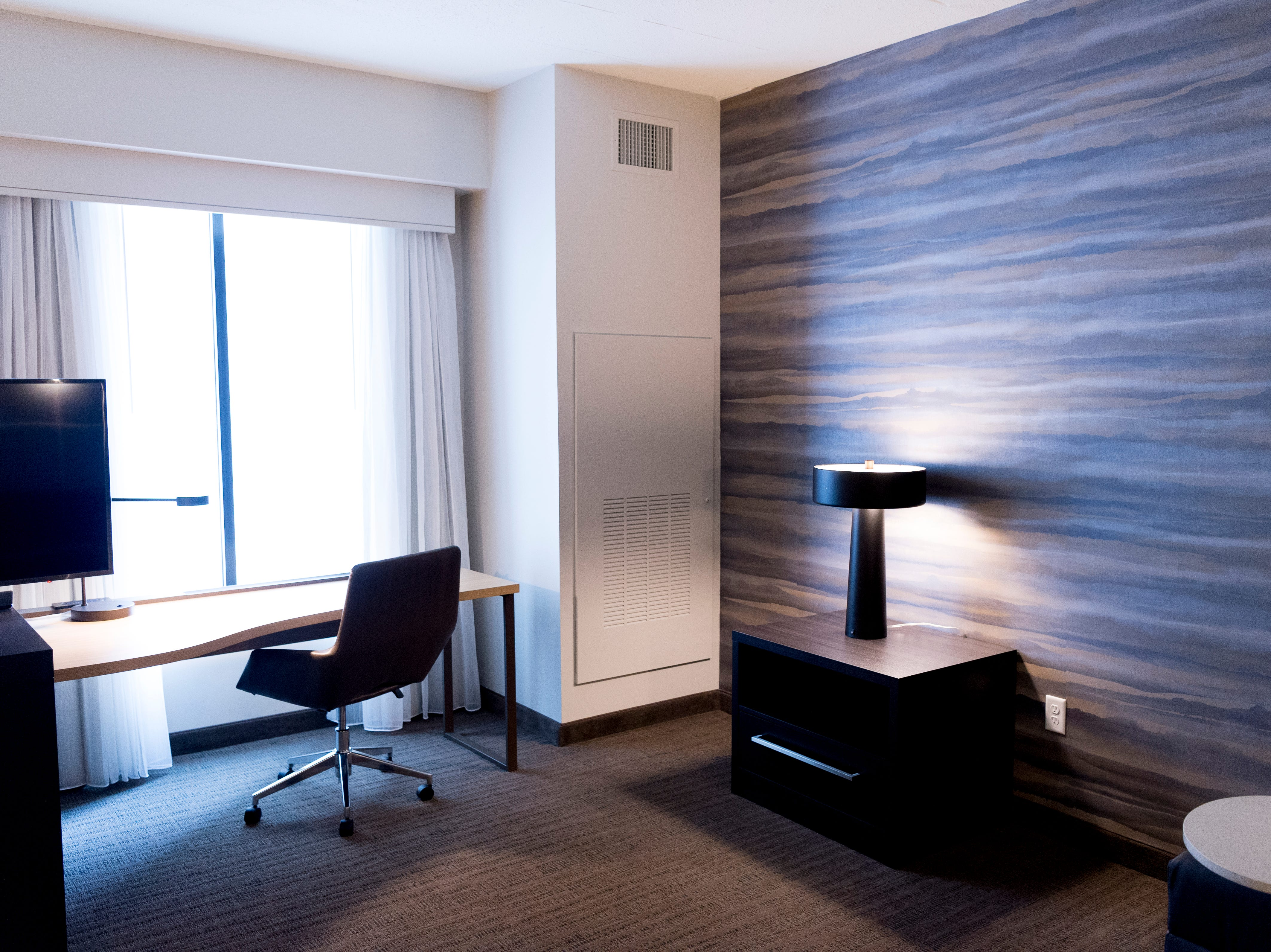 A view inside the Residence King Studio room at the new Courtyard and Residence Inn by Marriott at 210 Church Ave. in Knoxville, Tennessee on Monday, March 25, 2019. The hotel is the first of its kind in Knoxville to offer two different tiers of hospitality within the same building.