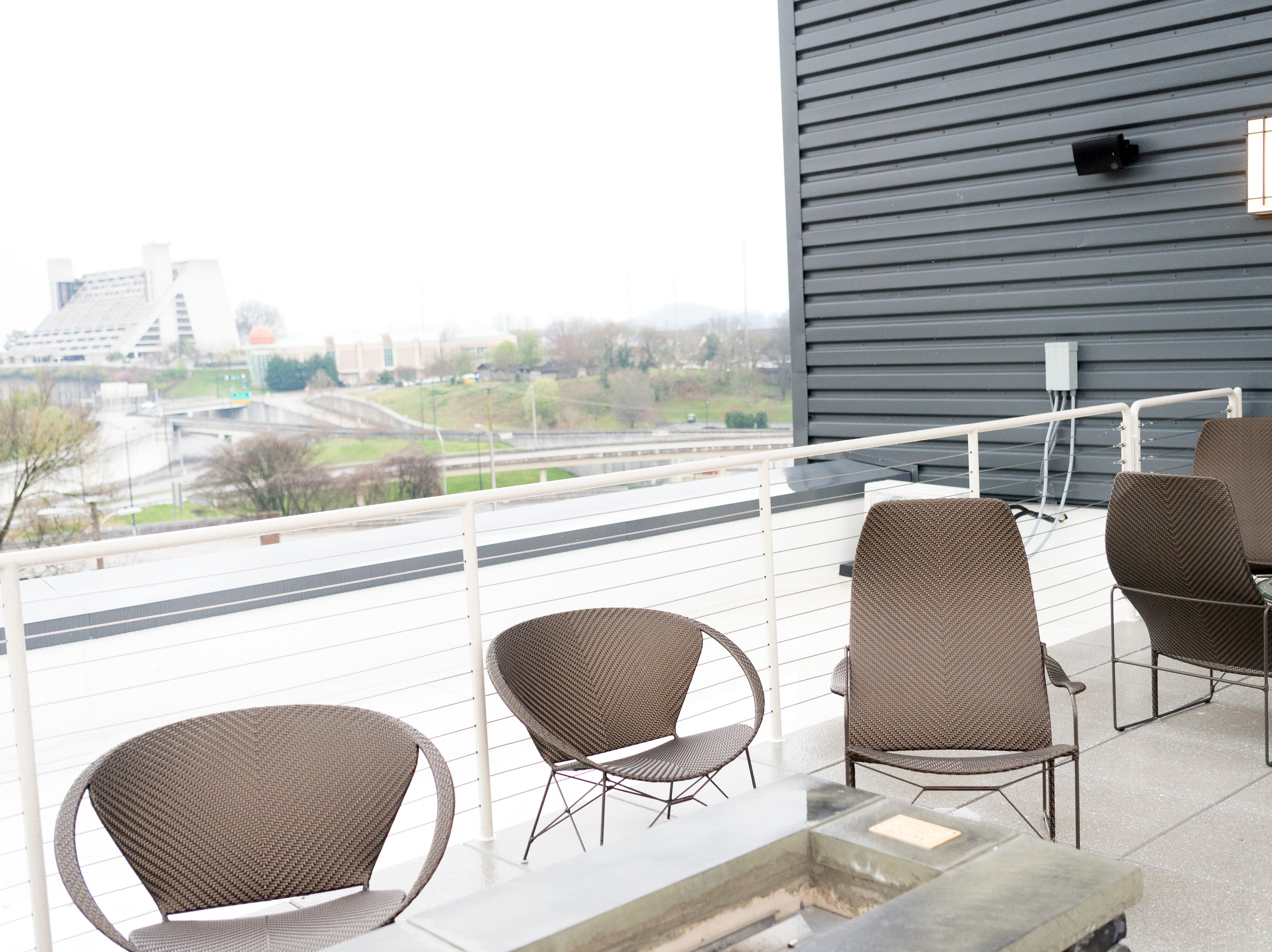 The Above Church second floor terrace at the new Courtyard and Residence Inn by Marriott at 210 Church Ave. in Knoxville, Tennessee on Monday, March 25, 2019. The hotel is the first of its kind in Knoxville to offer two different tiers of hospitality within the same building.