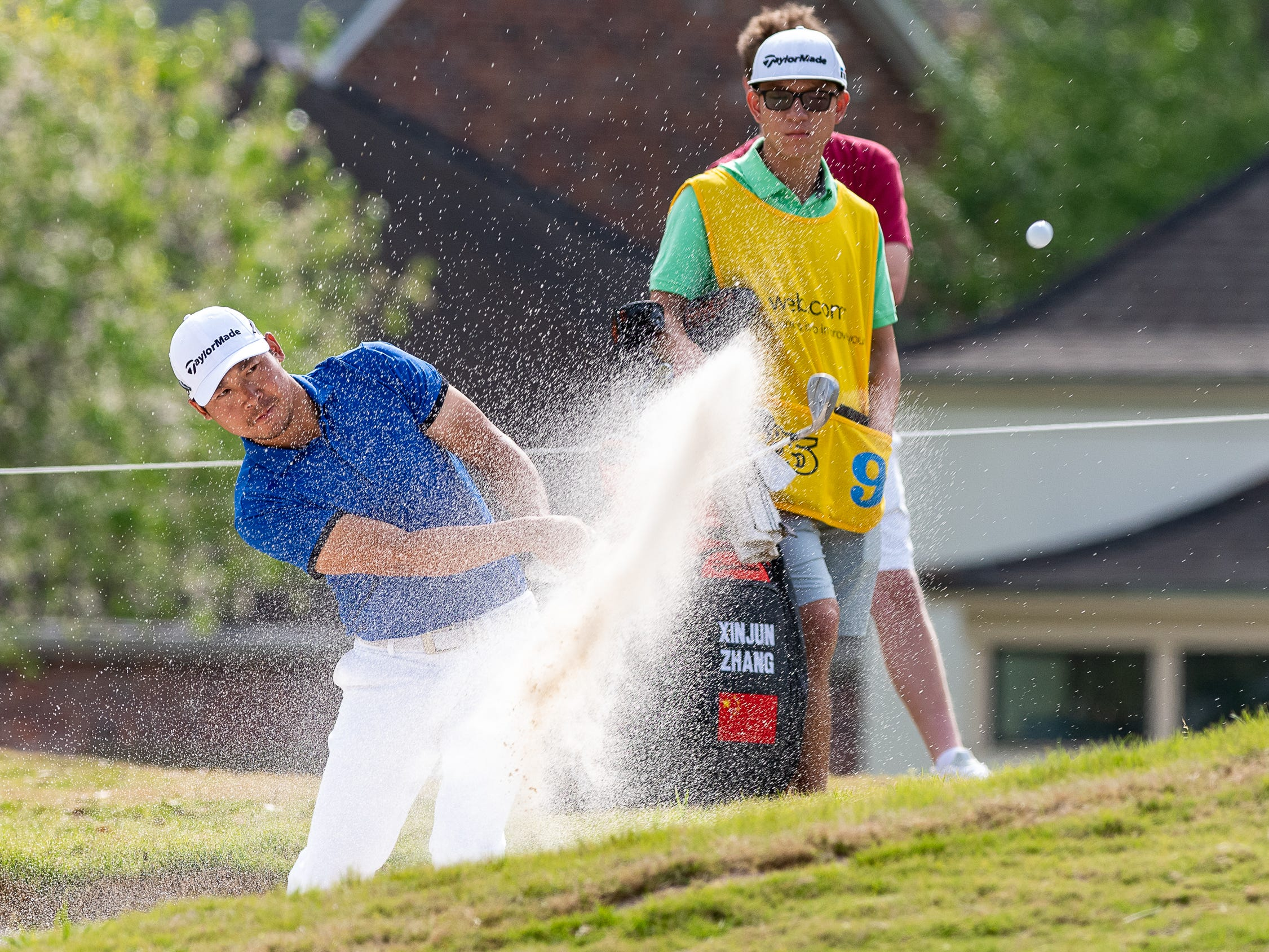 Xinjun Zhang from the sand during the final round of the Web.com 2019 Chitimacha Louisiana Open presented by Mistras at Le Triomphe. Sunday, March 24, 2019.