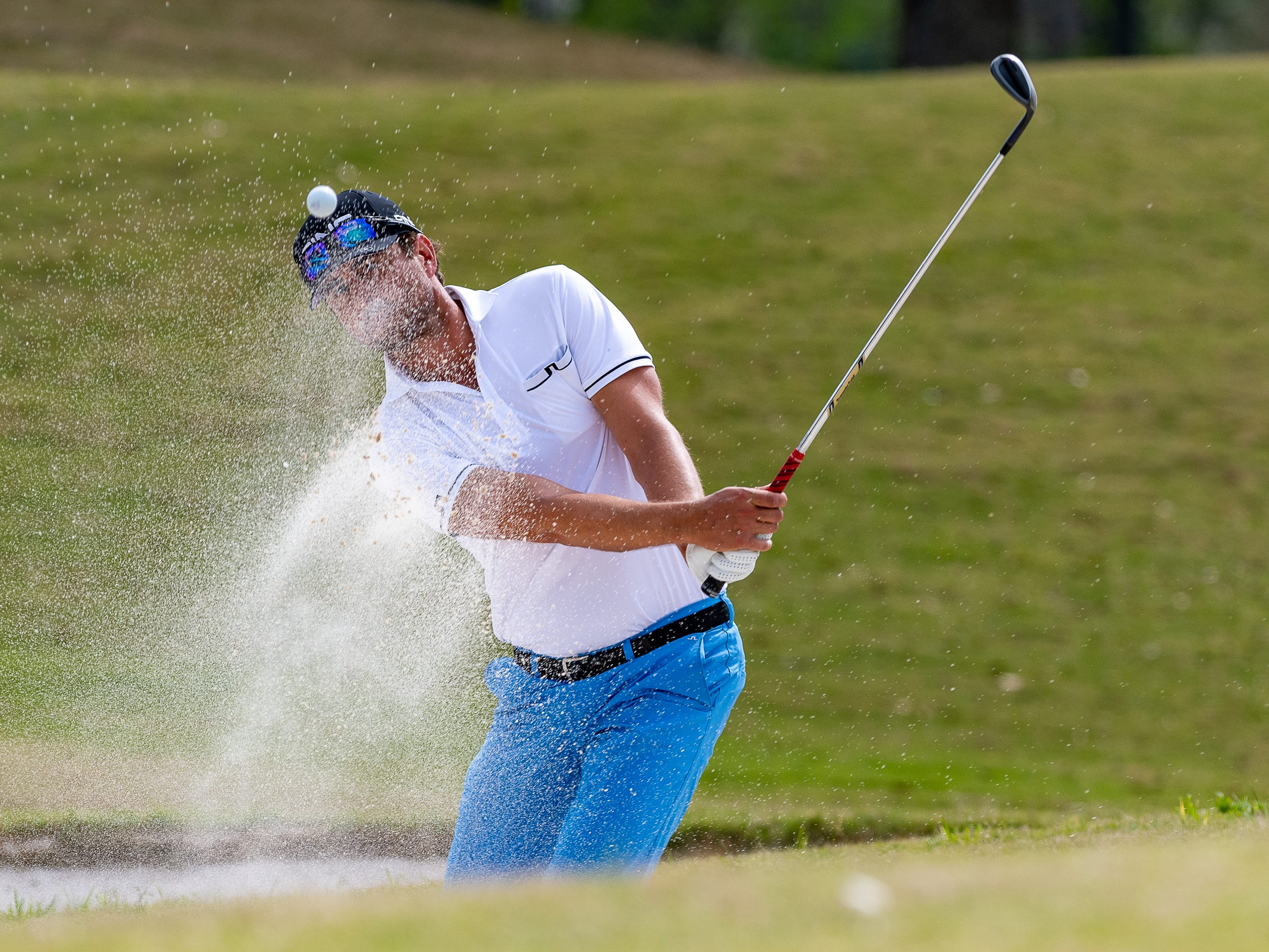 Scott Harrington from the sand trap on 16 during the final round of the Web.com 2019 Chitimacha Louisiana Open presented by Mistras at Le Triomphe. Sunday, March 24, 2019.