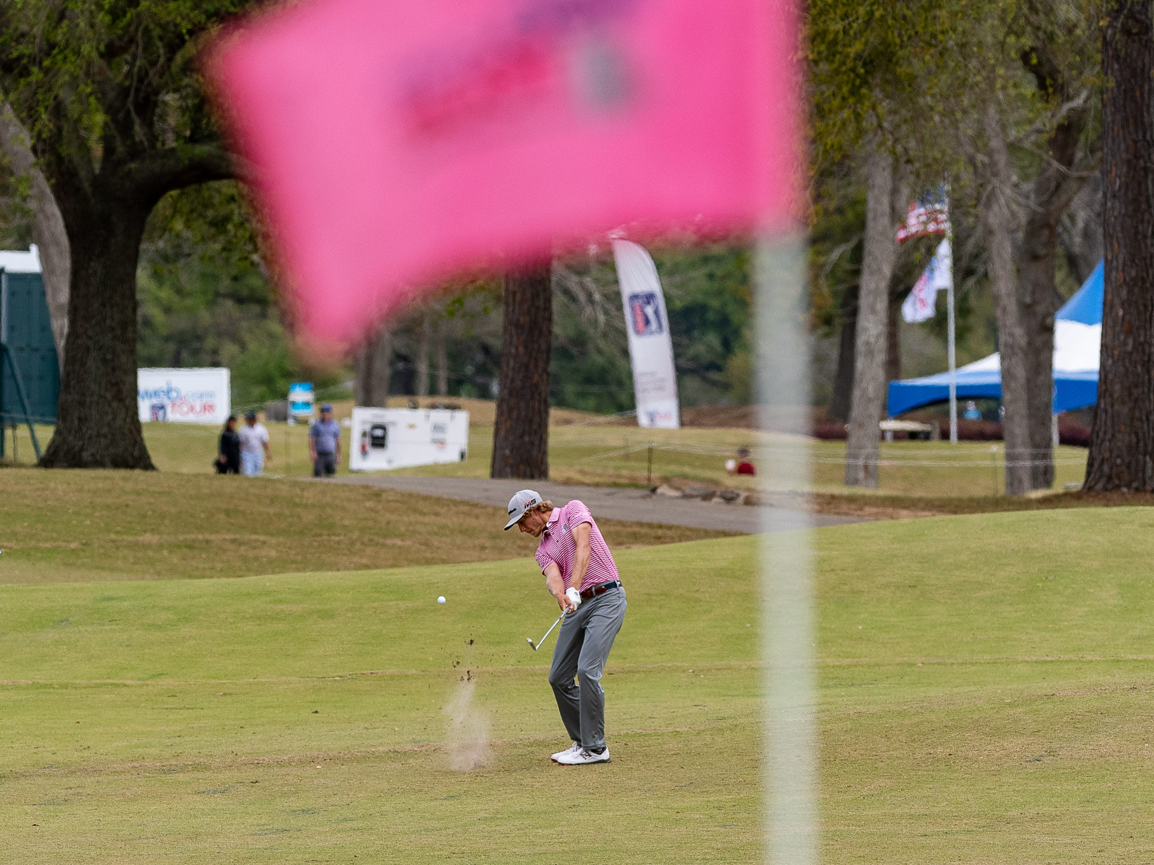 Austin Smotherman hits approach shot on 13 during the final round of the Web.com 2019 Chitimacha Louisiana Open presented by Mistras at Le Triomphe. Sunday, March 24, 2019.