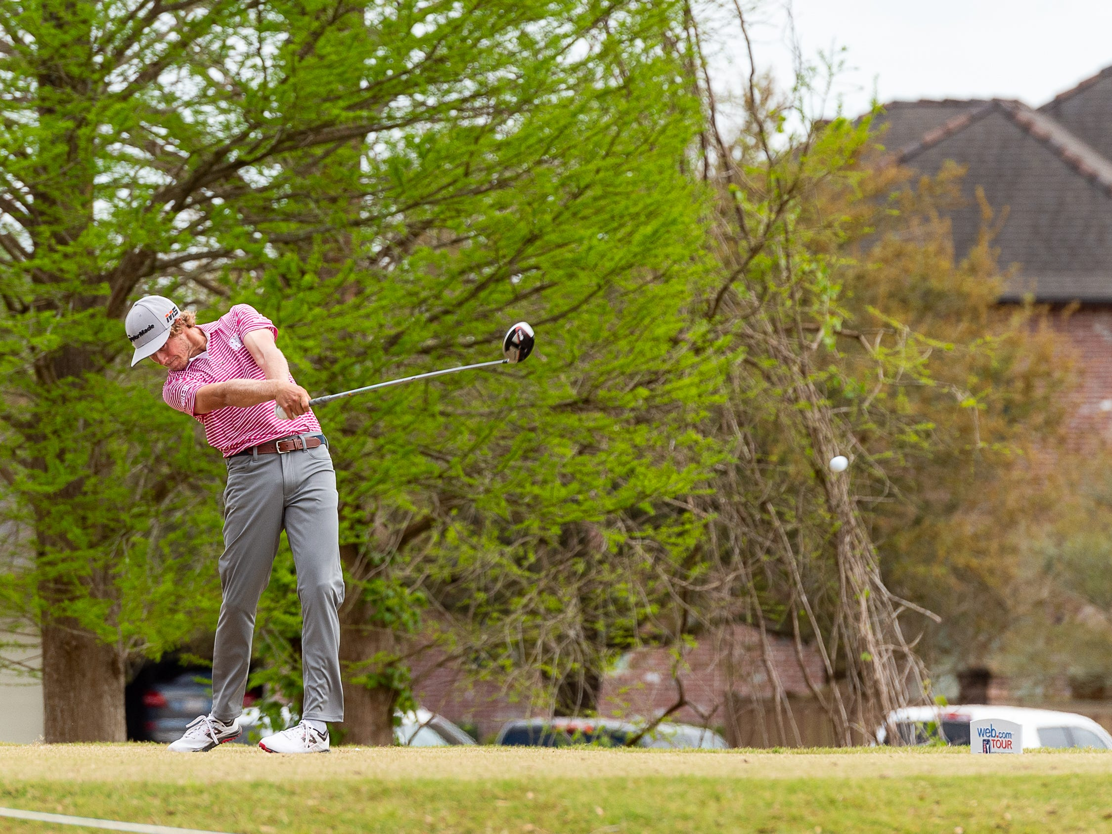 Austin Smotherman on the tee during the final round of the Web.com 2019 Chitimacha Louisiana Open presented by Mistras at Le Triomphe. Sunday, March 24, 2019.