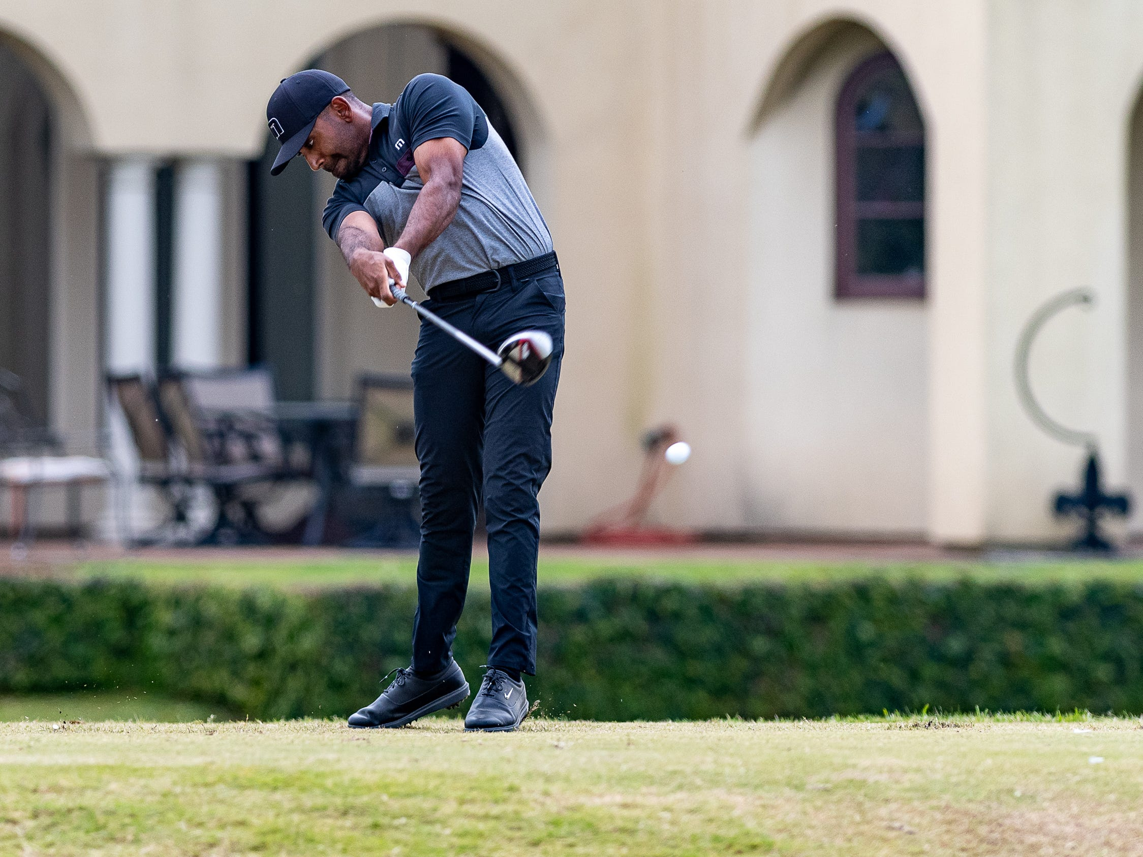 Bhavik Patel hits tee shot during the final round of the Web.com 2019 Chitimacha Louisiana Open presented by Mistras at Le Triomphe. Sunday, March 24, 2019.