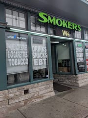 """5 Brothers """"Grocery & Smokeshop"""" in Old Louisville sells packaged food products along with smoking products and Lotto tickets."""