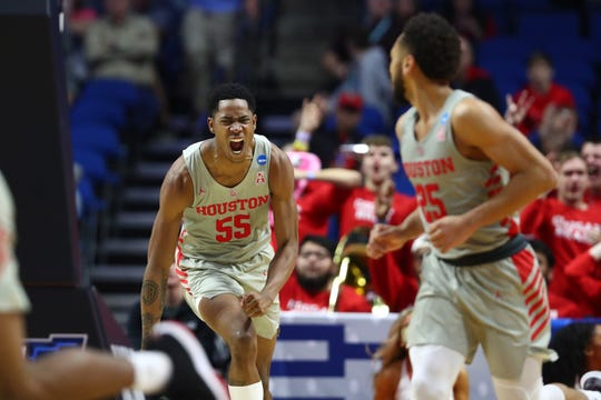 Mar 24, 2019; Tulsa, OK, USA; Houston Cougars forward Brison Gresham (55) reacts against the Ohio State Buckeyes during the first second in the second round of the 2019 NCAA Tournament at BOK Center. Mandatory Credit: Mark J. Rebilas-USA TODAY Sports