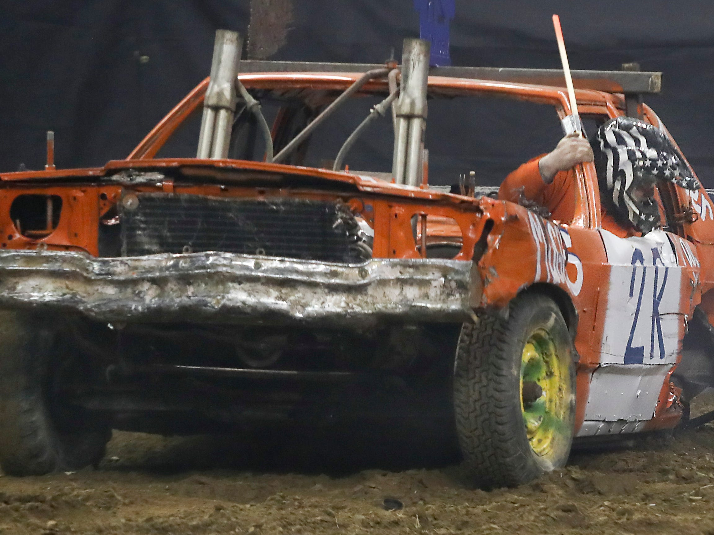 Engines and axils took a lot of damage at the 4th annual Bluegrass Bash Demolition Derby in Freedom Hall on March 23.