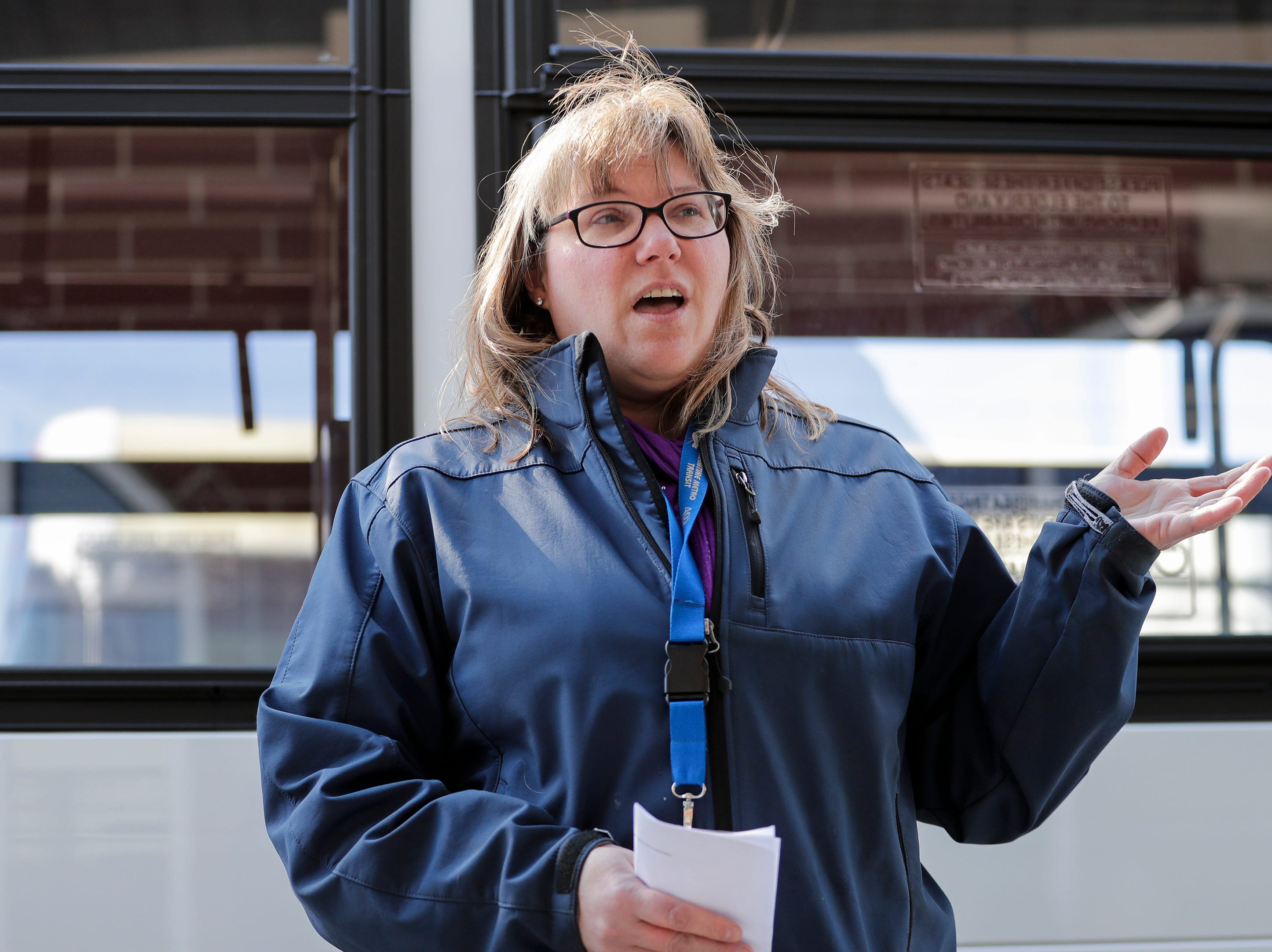 Maritime Metro Transit interim manager Marlo Kohlmann introduces one of six new city buses outside the Maritime Metro Transit transfer station Monday, March 25, 2019, in Manitowoc, Wis. The new buses go into service today. Joshua Clark/USA TODAY NETWORK-Wisconsin