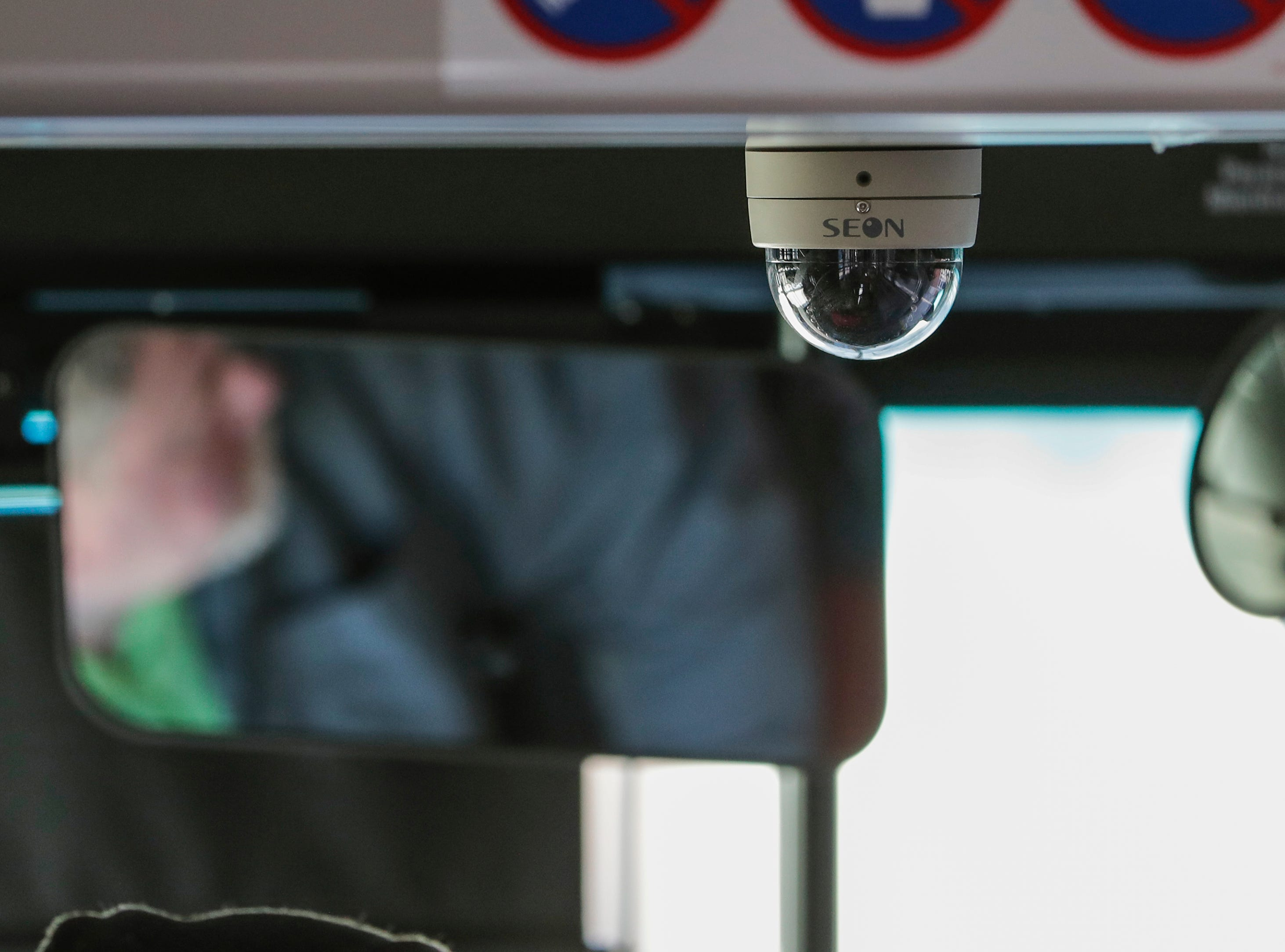 A video surveillance camera on a new Maritime Metro Transit bus Monday, March 25, 2019, in Manitowoc, Wis. The new buses upgraded to an eight camera system from the four camera system on the old ones. Joshua Clark/USA TODAY NETWORK-Wisconsin