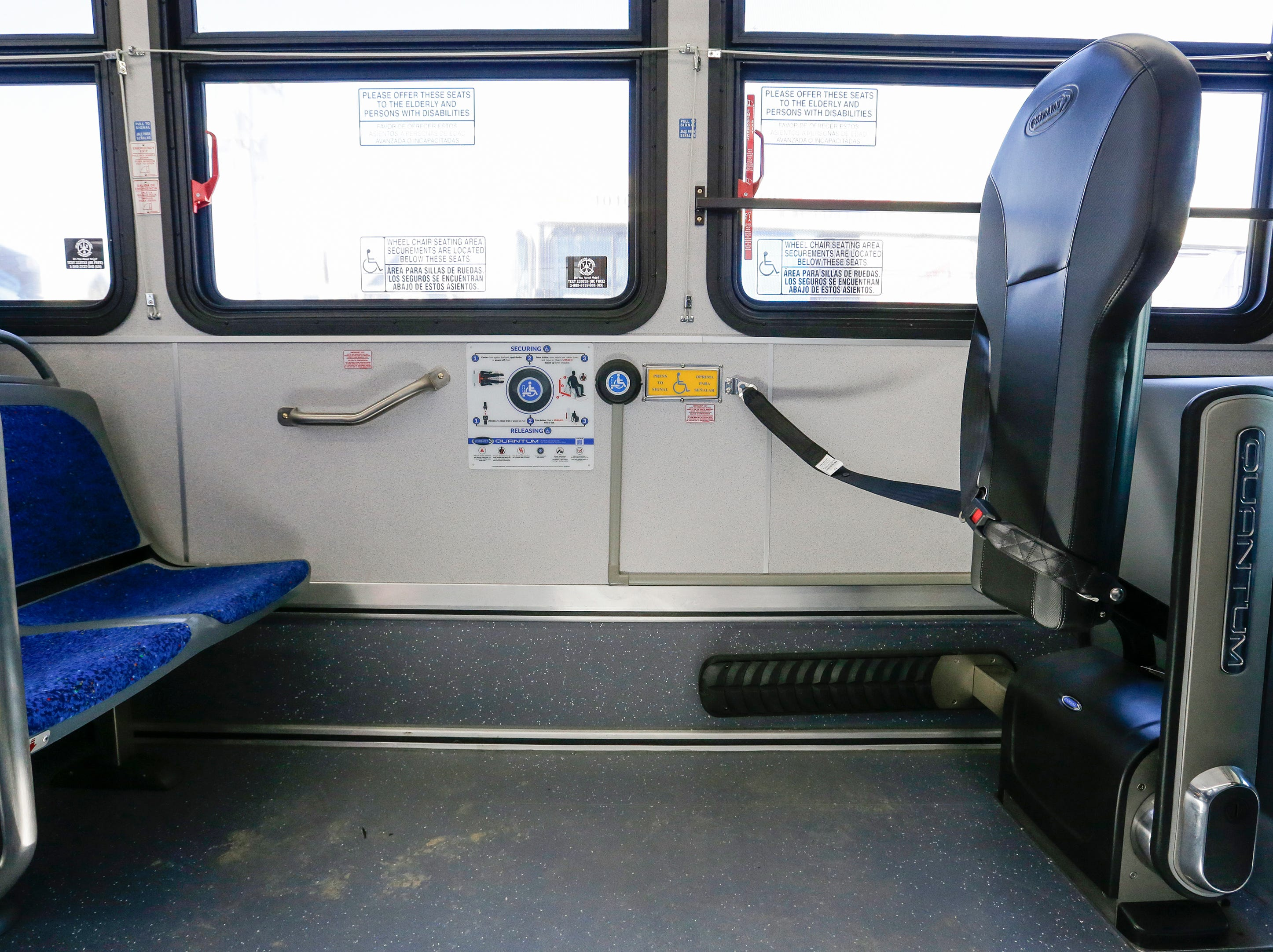 The Quantum automatic securement system for people with disabilities on board a new Maritime Metro Transit bus Monday, March 25, 2019, in Manitowoc, Wis. Joshua Clark/USA TODAY NETWORK-Wisconsin