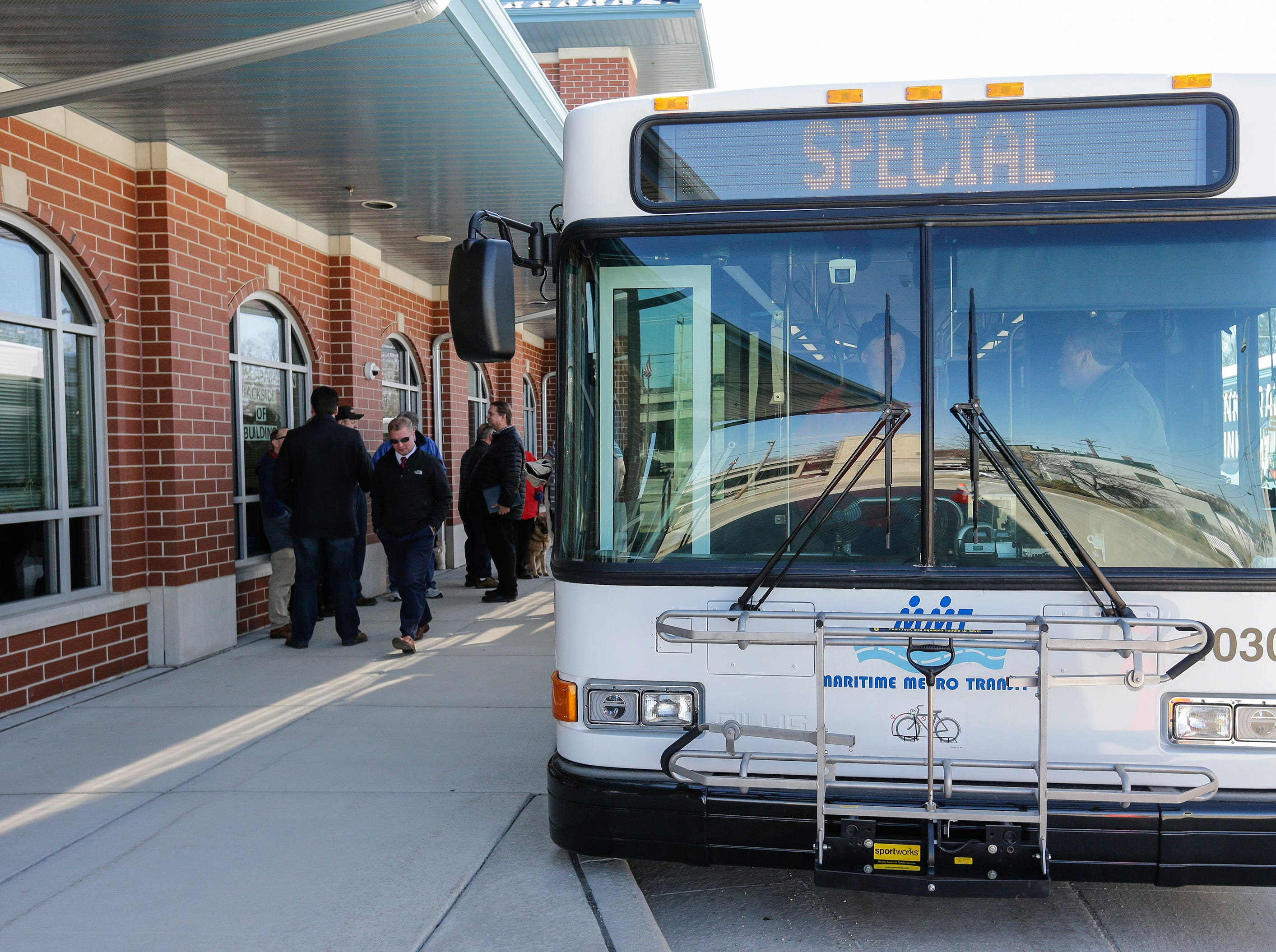 A new city bus is commissioned for Maritime Metro Transit outside the MMT transfer station Monday, March 25, 2019, in Manitowoc, Wis. The new buses feature better fuel economy, lower emissions, an updated video surveillance system, an automatic securement system for people with disabilities and the capability to incorporate a real-time transit app for mobile devices which the city hopes to implement in the future. The buses go into service today, replacing old buses with more than 600,000 miles purchased between 2004 and 2005. Joshua Clark/USA TODAY NETWORK-Wisconsin