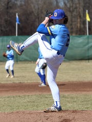Ontario's Avery Fisher delivers a pitch during Saturday's victory over Wynford.