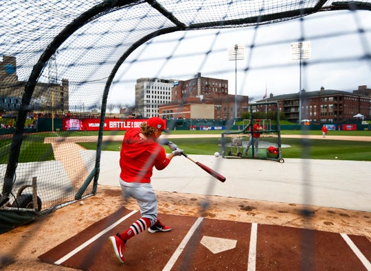 "St. Louis Cardinals outfielder Harrison Bader takes batting practice before their exhibition game against the Memphis Redbirds ""Battle of the Birds"" at AutoZone Park."