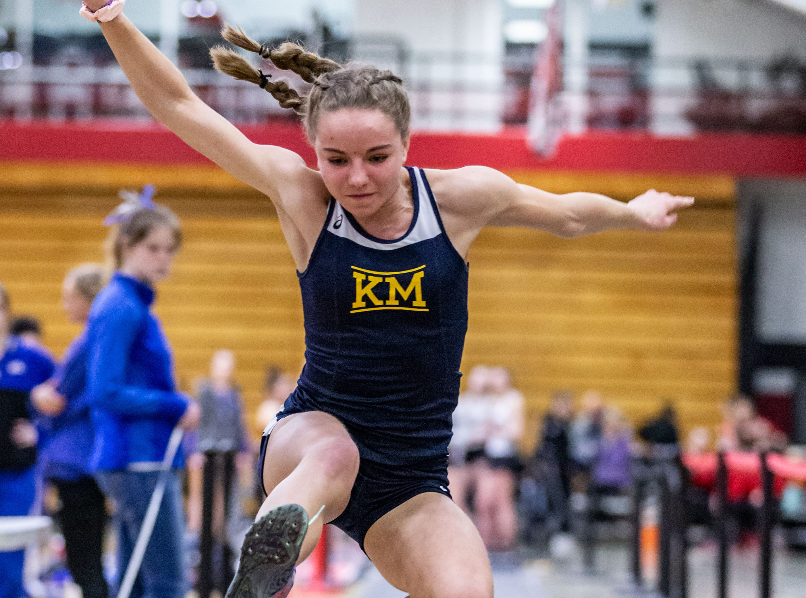Kettle Moraine's Kayden Kruchoski competes in the triple jump at the Peter Rempe Cardinal Relays hosted by Waukesha South on Thursday, March 21, 2019.