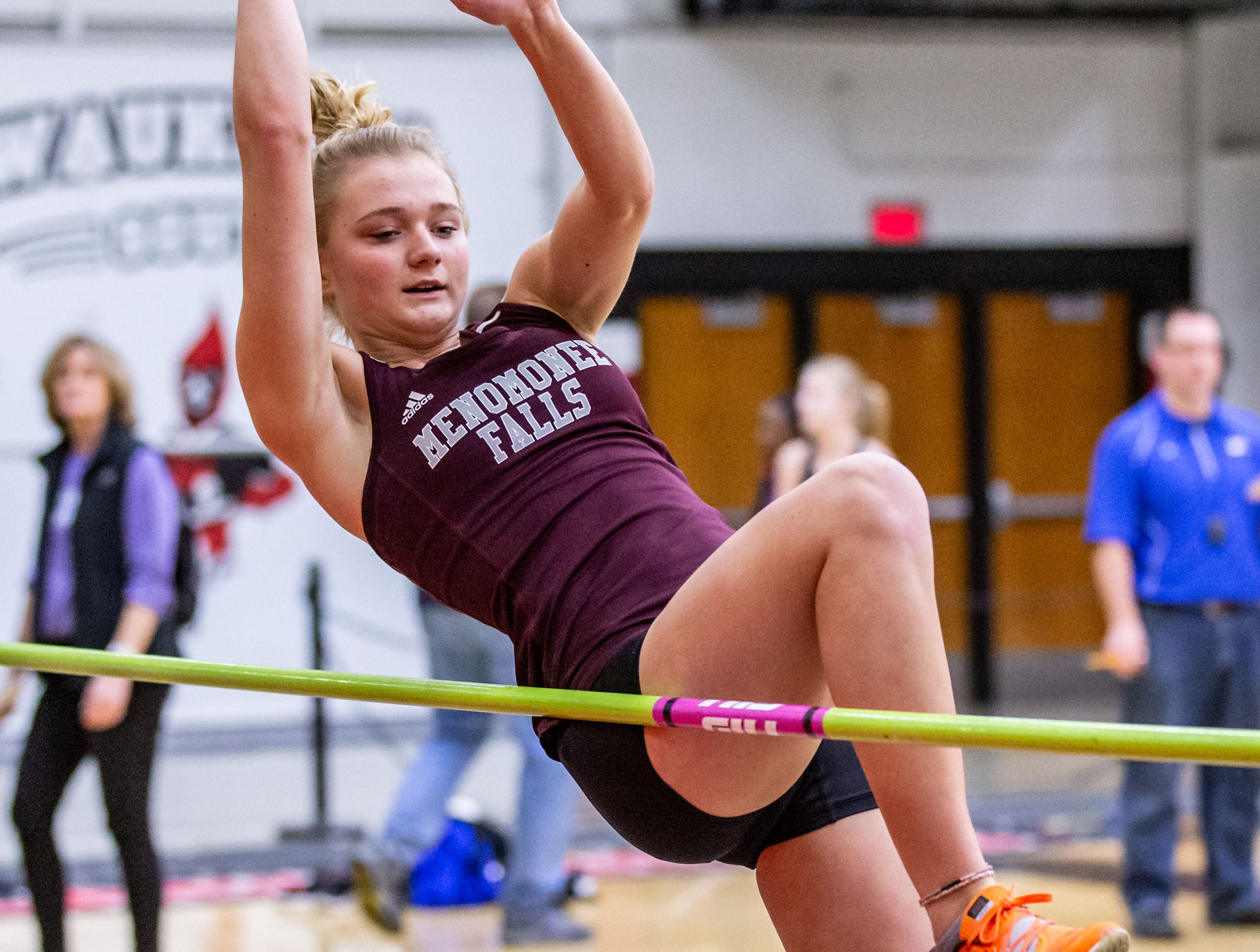 Menomonee Falls sophomore Emma Schoenauer competes in the high jump at the Peter Rempe Cardinal Relays hosted by Waukesha South on Thursday, March 21, 2019.