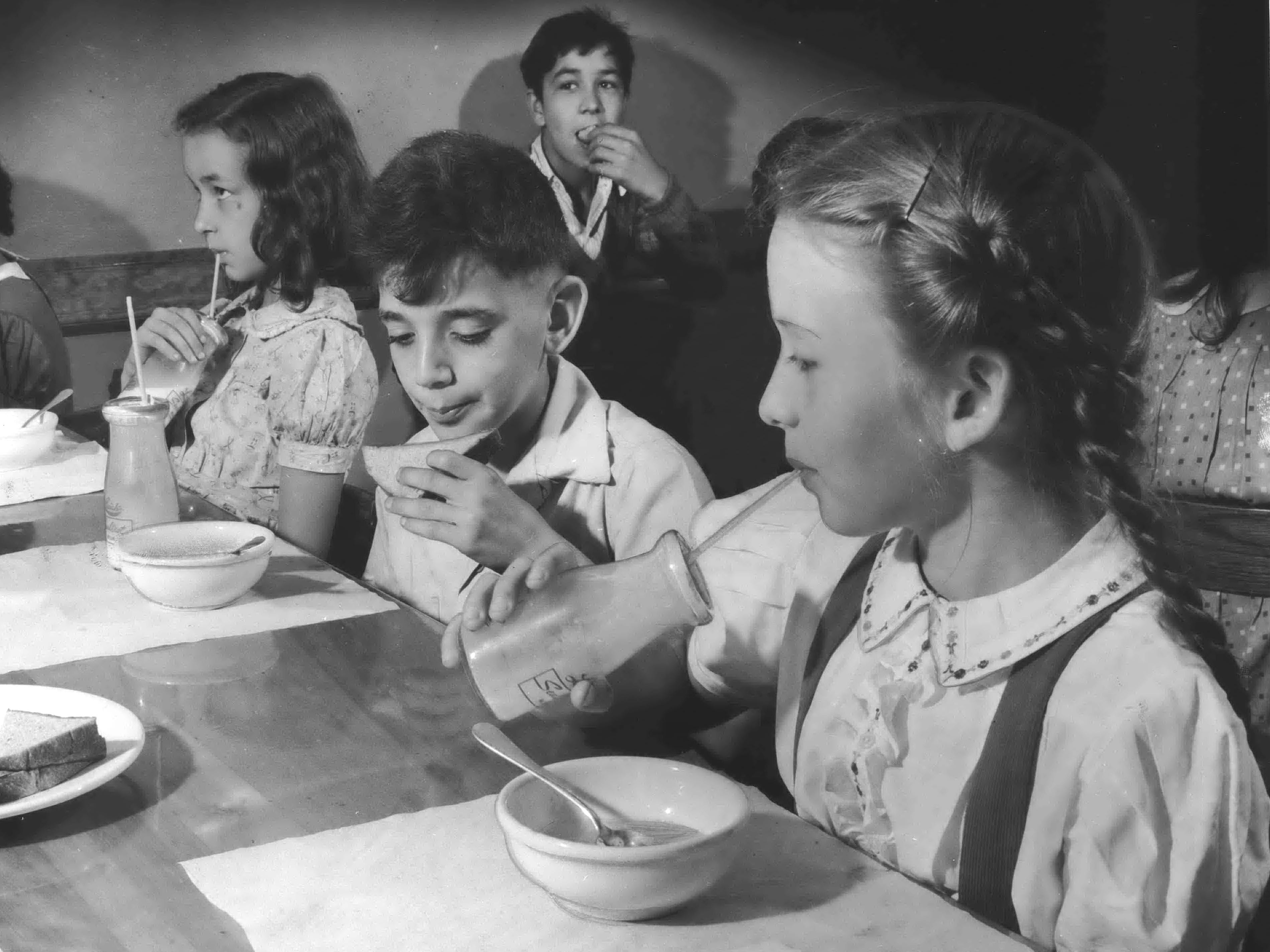 1942: With the Depression on the wane, milk found a new market when the first federal milk program for schools was implemented in two low-income neighborhoods, one in Chicago and the other in New York. The price to children was 1 cent per half pint. Children unable to pay were given milk for free. The penny milk program was also instituted in 32 public elementary schools in Milwaukee.