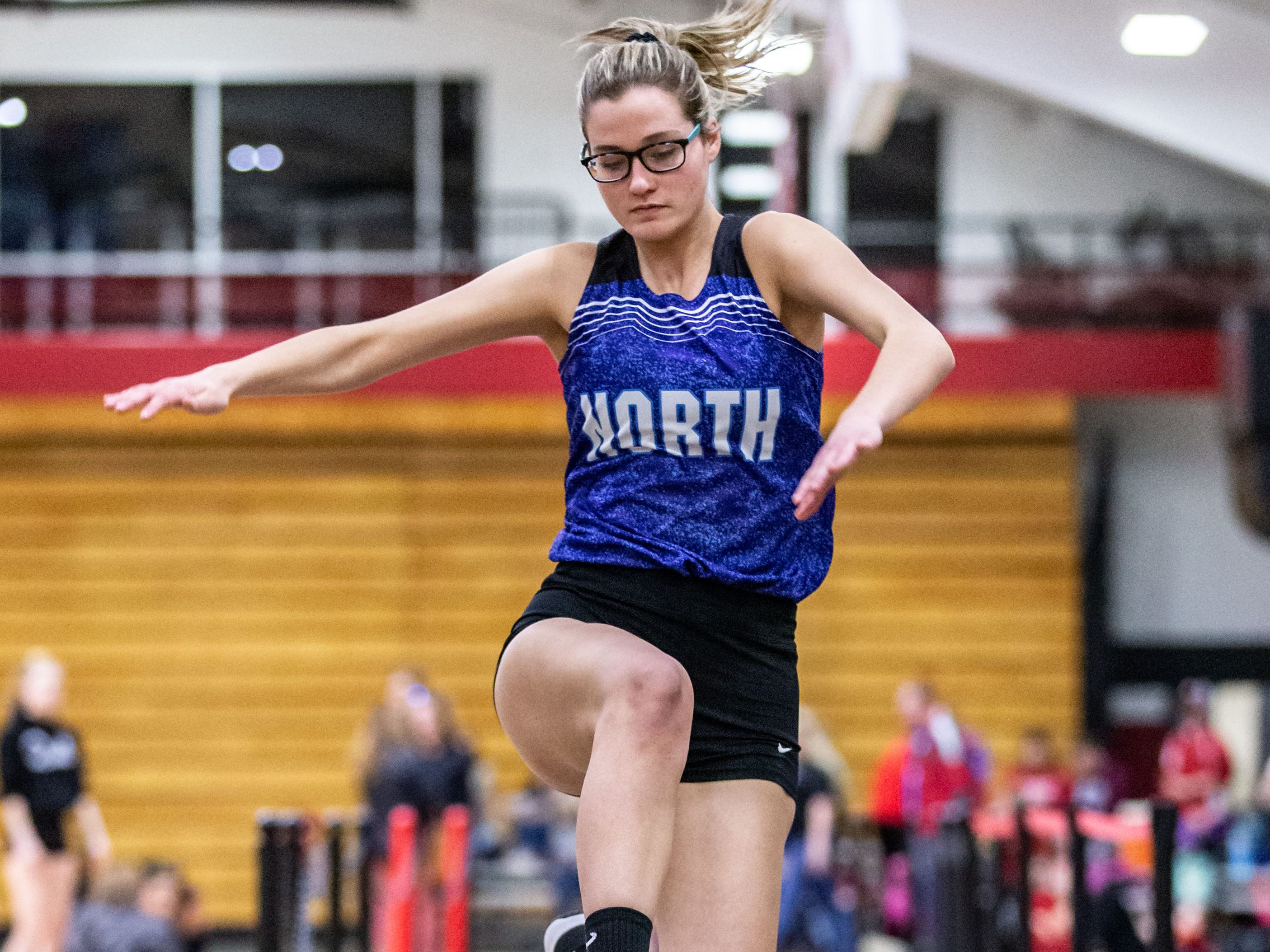 Waukesha North's Sydney Demerath competes in the long jump at the Peter Rempe Cardinal Relays hosted by Waukesha South on Thursday, March 21, 2019.