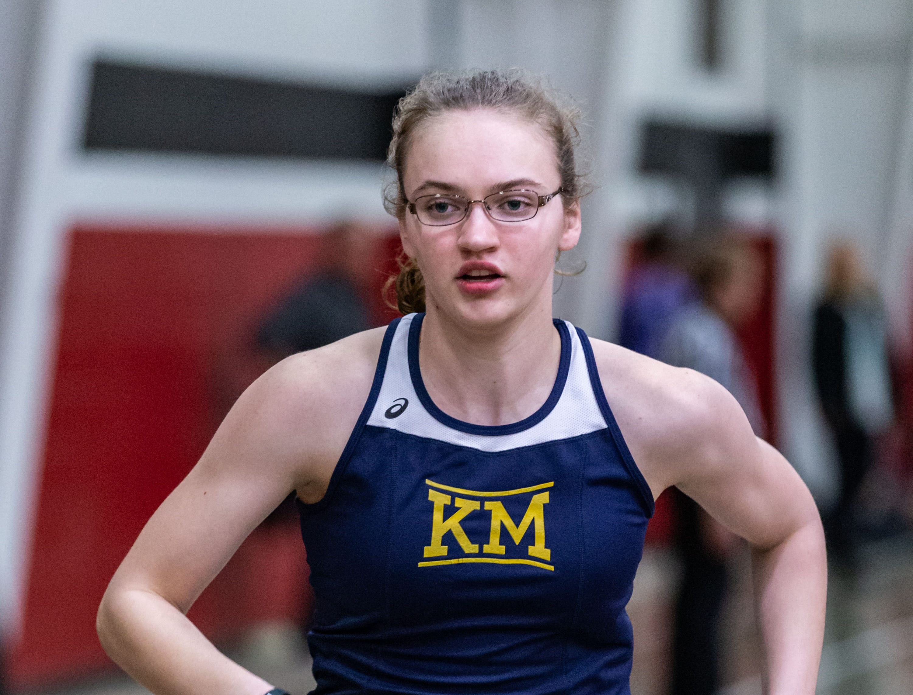 Kettle Moraine's Ellie Johnson competes in the 4x440 yard relay at the Peter Rempe Cardinal Relays hosted by Waukesha South on Thursday, March 21, 2019. Kettle Moraine placed second in the event with a time of 4:31.29.