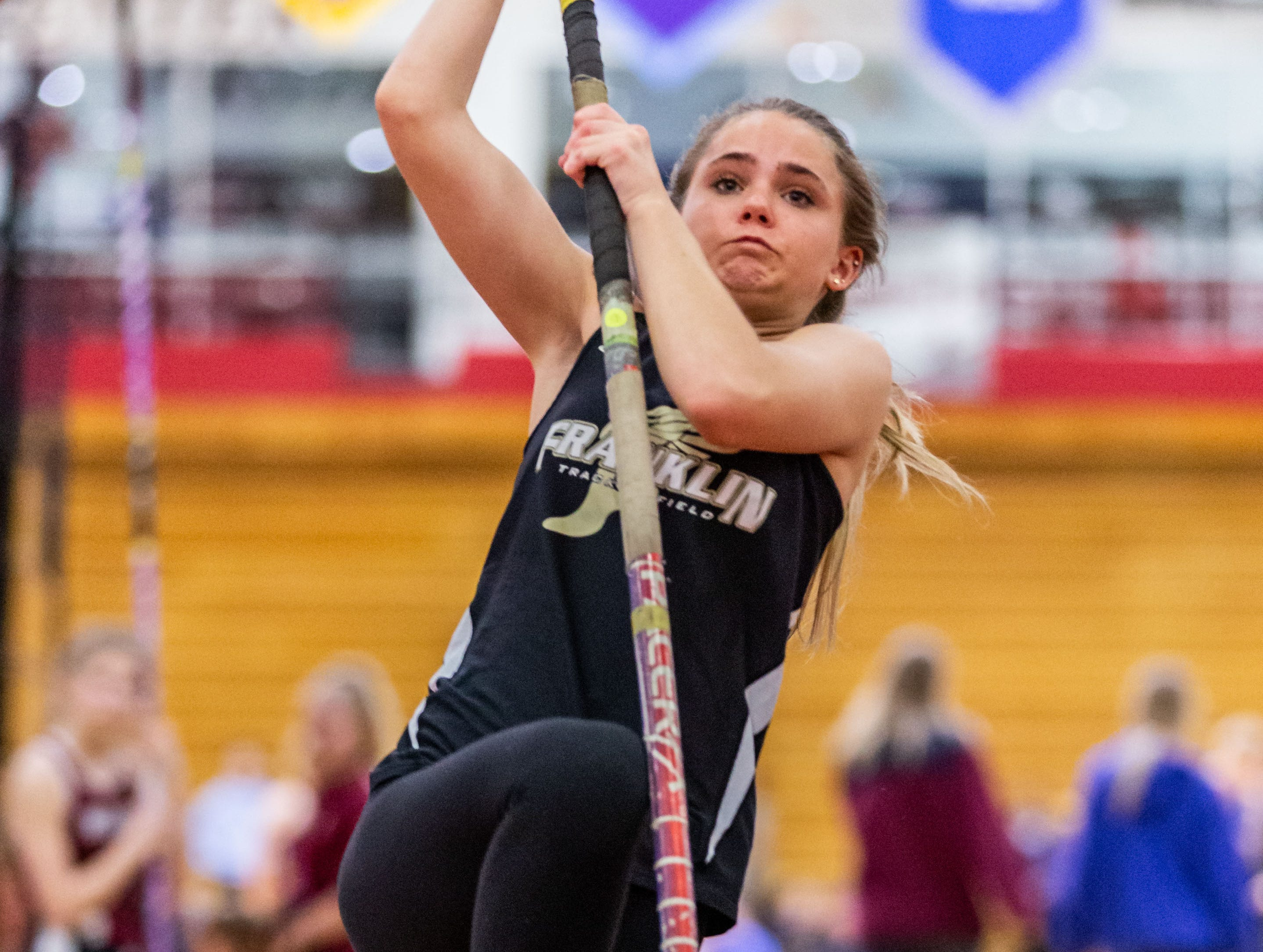 Franklin's Alexi Thorpe competes in the pole vault at the Peter Rempe Cardinal Relays hosted by Waukesha South on Thursday, March 21, 2019.