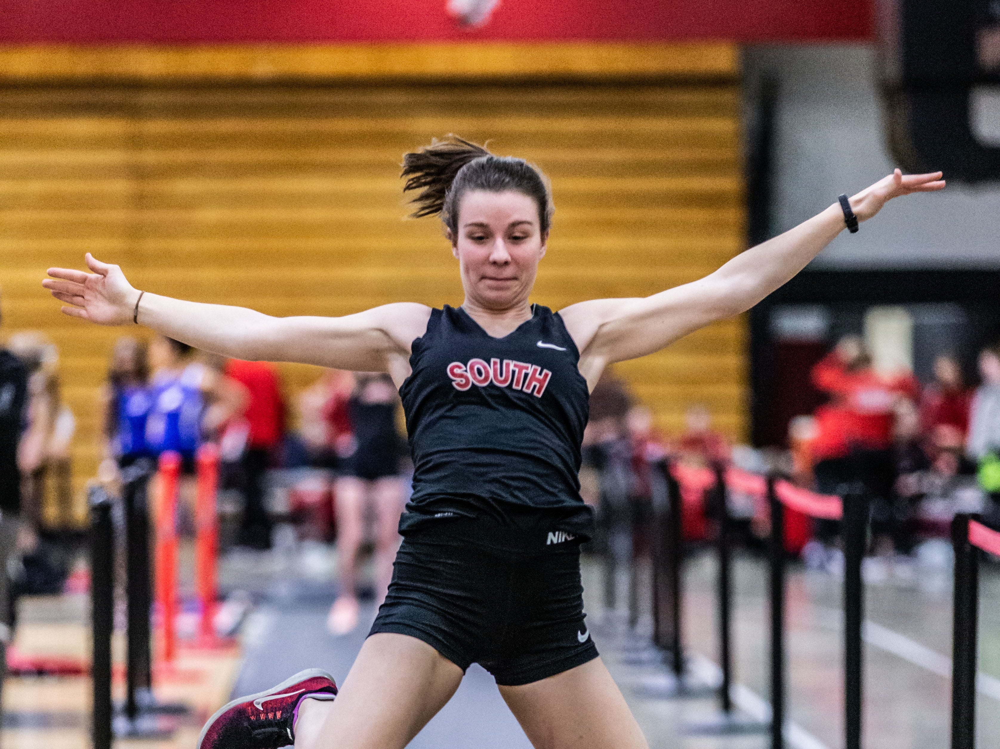Waukesha South's Julia Kolton competes in the long jump at the Peter Rempe Cardinal Relays hosted by Waukesha South on Thursday, March 21, 2019.