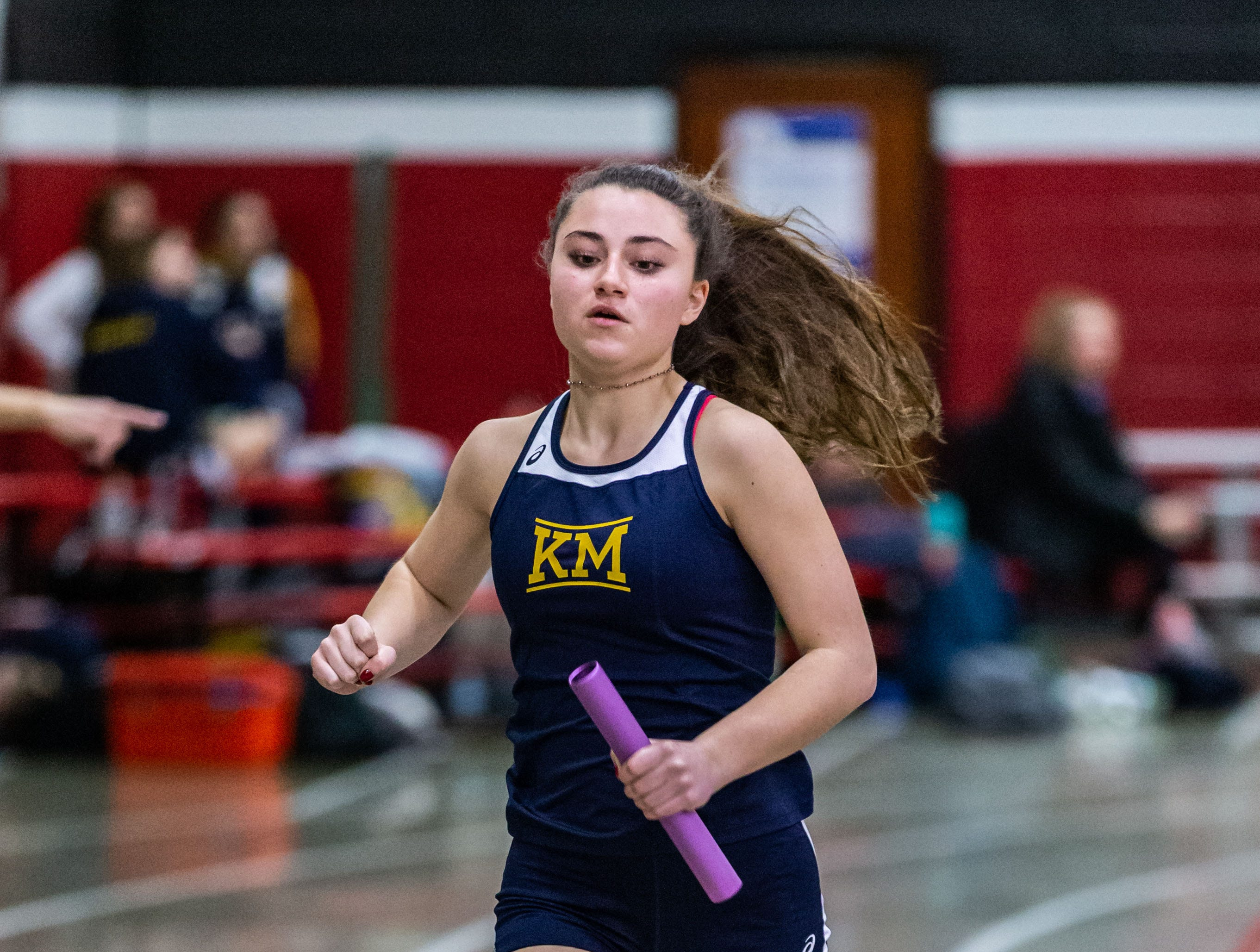 Kettle Moraine's Olivia Hester competes in the 4x440 yard relay at the Peter Rempe Cardinal Relays hosted by Waukesha South on Thursday, March 21, 2019. Kettle Moraine placed second in the event with a time of 4:31.29.