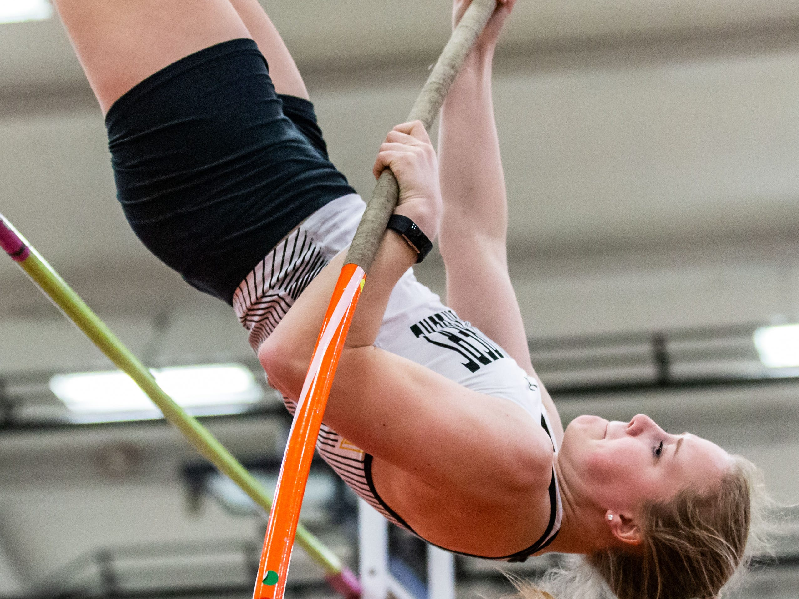 Franklin's Janel Sweet competes in the pole vault at the Peter Rempe Cardinal Relays hosted by Waukesha South on Thursday, March 21, 2019. Sweet won the event with a vault of 10-00.00.