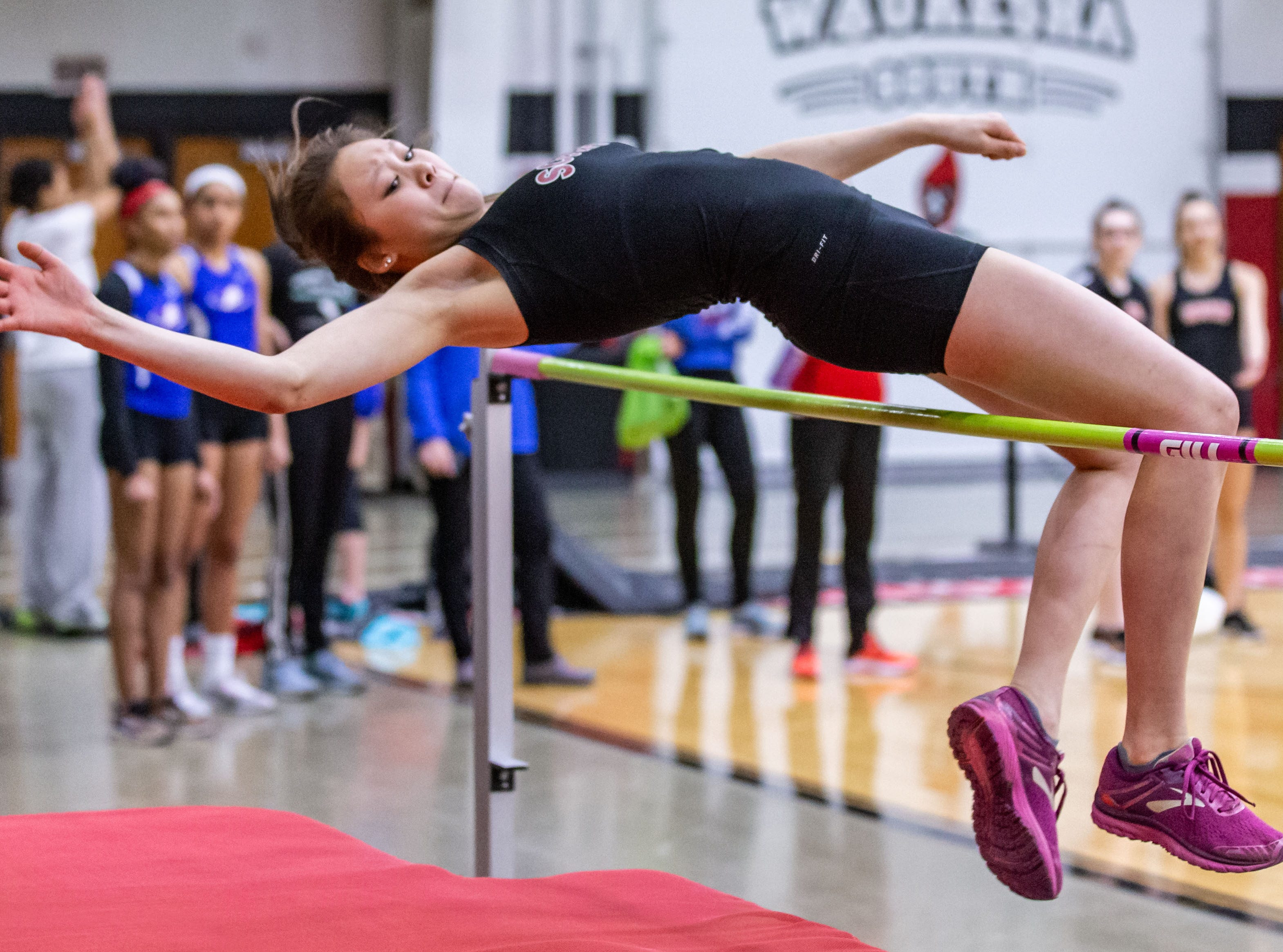 Waukesha South's Kendall Gonzalez competes in the high jump at the Peter Rempe Cardinal Relays hosted by Waukesha South on Thursday, March 21, 2019.
