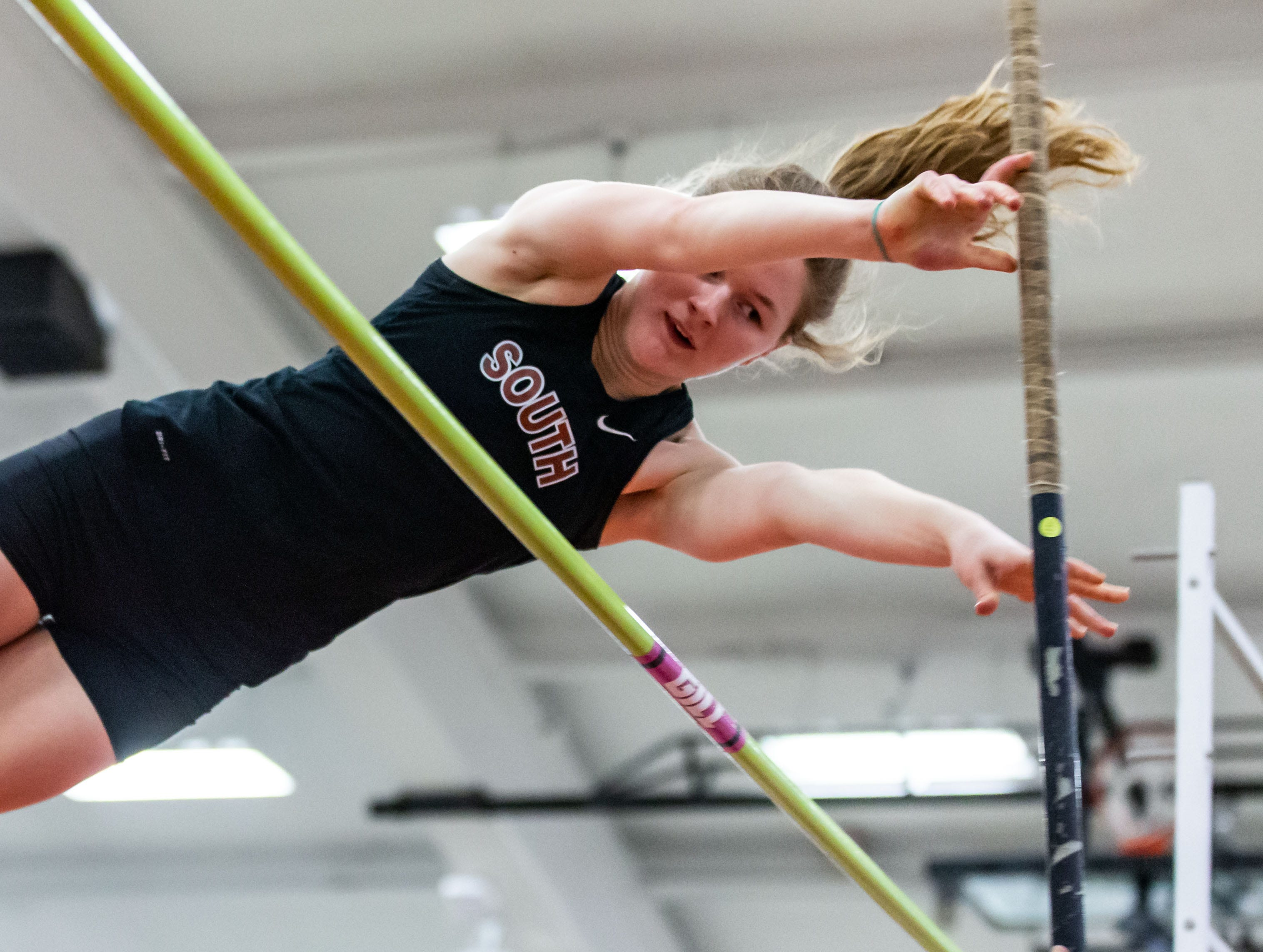 Waukesha South's Sam Pilon competes in the pole vault at the Peter Rempe Cardinal Relays hosted by Waukesha South on Thursday, March 21, 2019. Pilon tied for second in the event with a vault of 9-00.00.