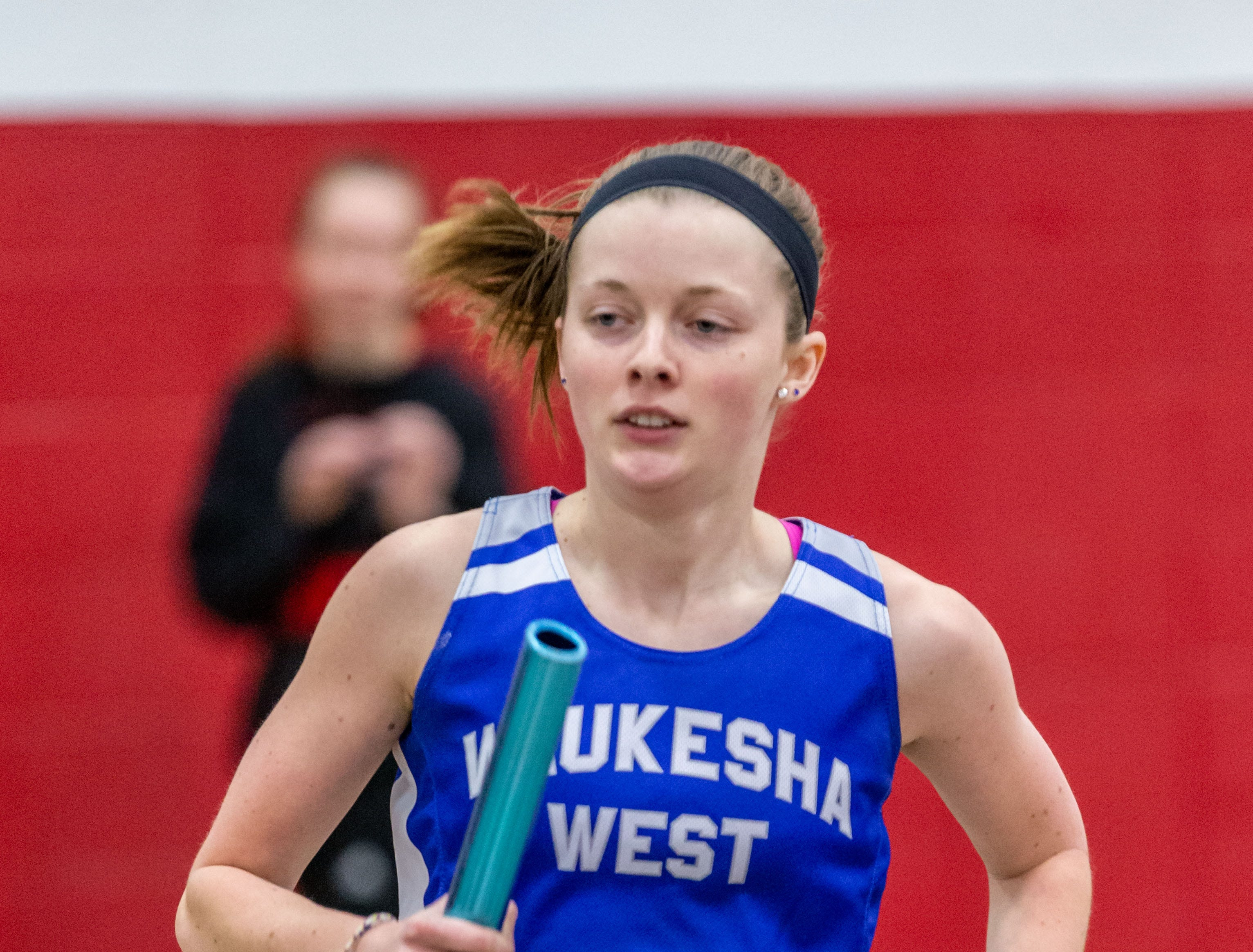 Waukesha West's Allyssa Reeves competes in the distance medley at the Peter Rempe Cardinal Relays hosted by Waukesha South on Thursday, March 21, 2019.