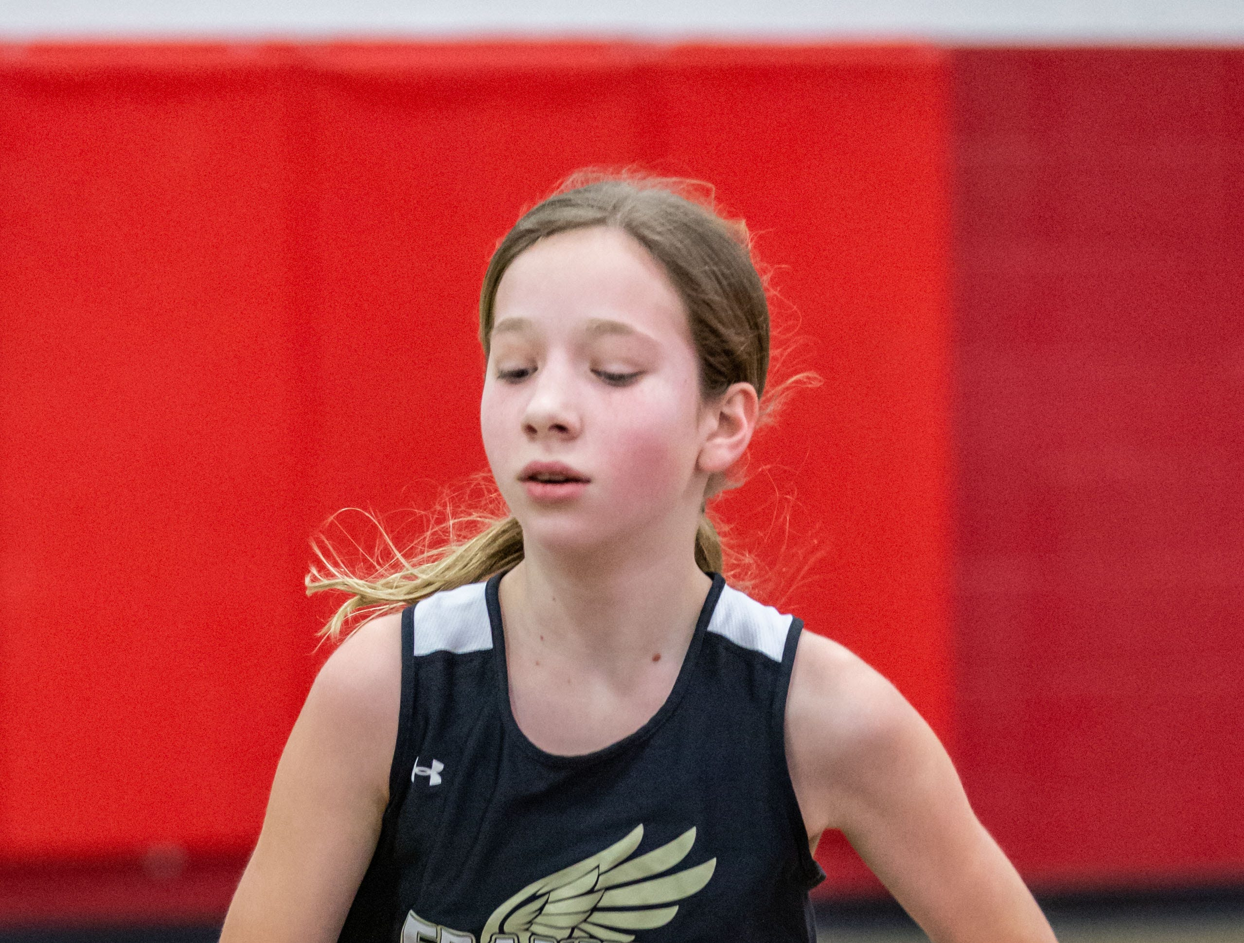 Franklin's Claire Wood competes in the distance medley at the Peter Rempe Cardinal Relays hosted by Waukesha South on Thursday, March 21, 2019.