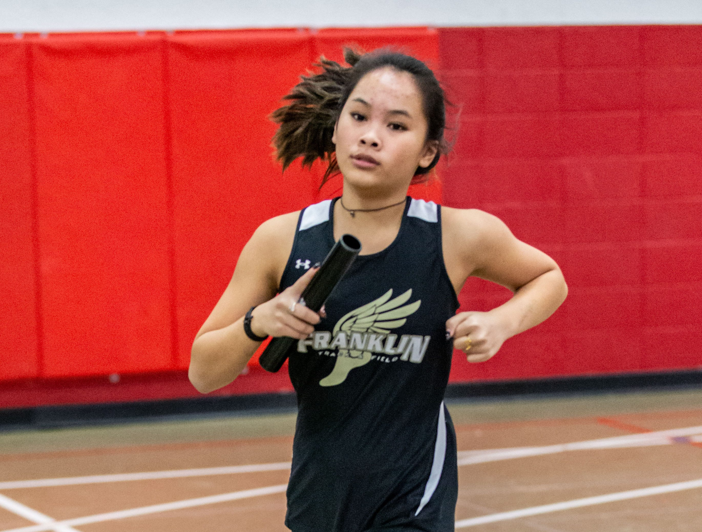 Franklin's Kailey Brandenburg competes in the distance medley at the Peter Rempe Cardinal Relays hosted by Waukesha South on Thursday, March 21, 2019.