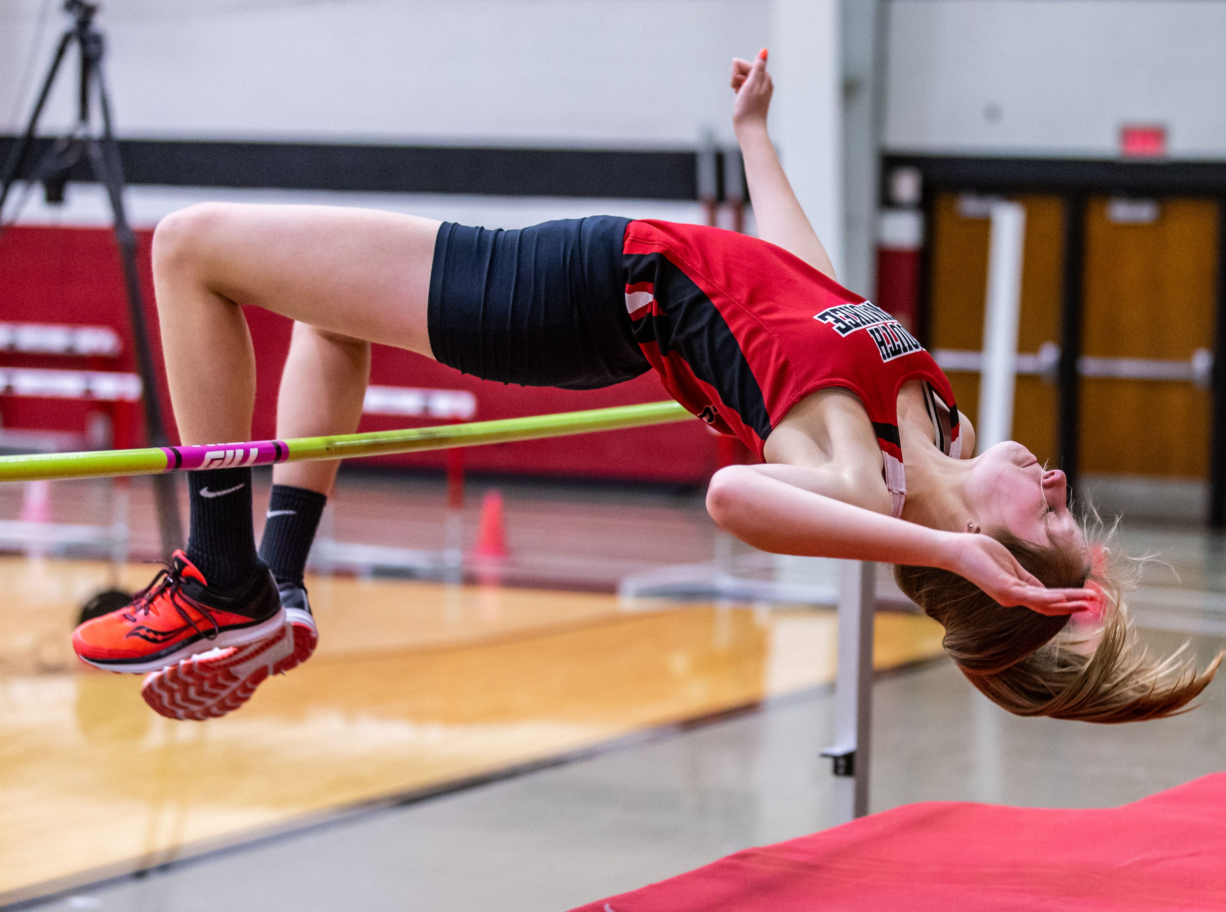 South Milwaukee's Jordyn Benn competes in the high jump at the Peter Rempe Cardinal Relays hosted by Waukesha South on Thursday, March 21, 2019.