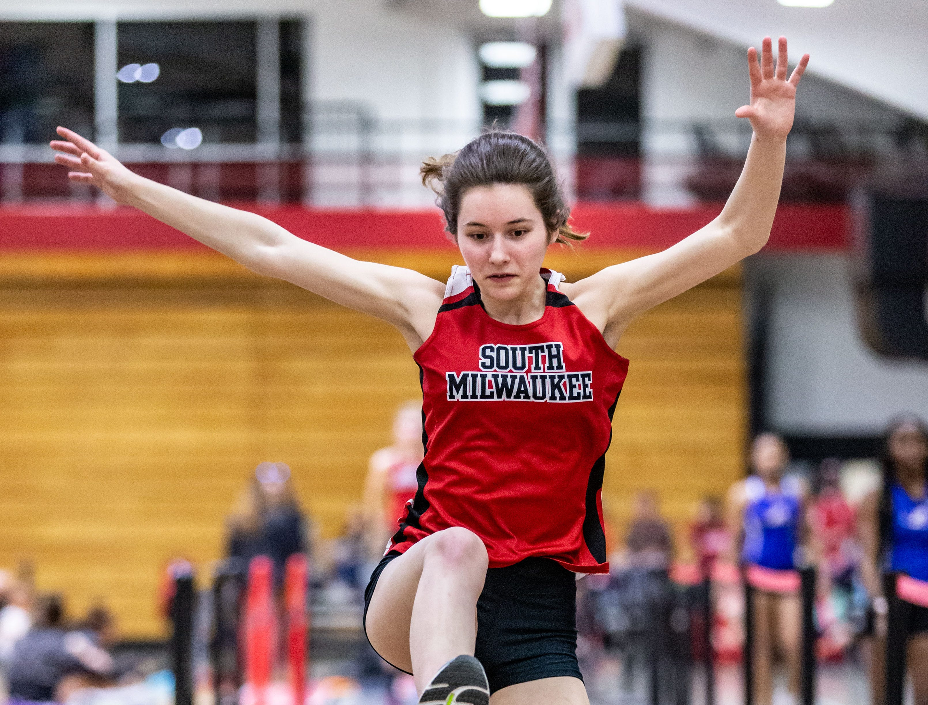 South Milwaukee's Keegan Schell competes in the long jump at the Peter Rempe Cardinal Relays hosted by Waukesha South on Thursday, March 21, 2019.
