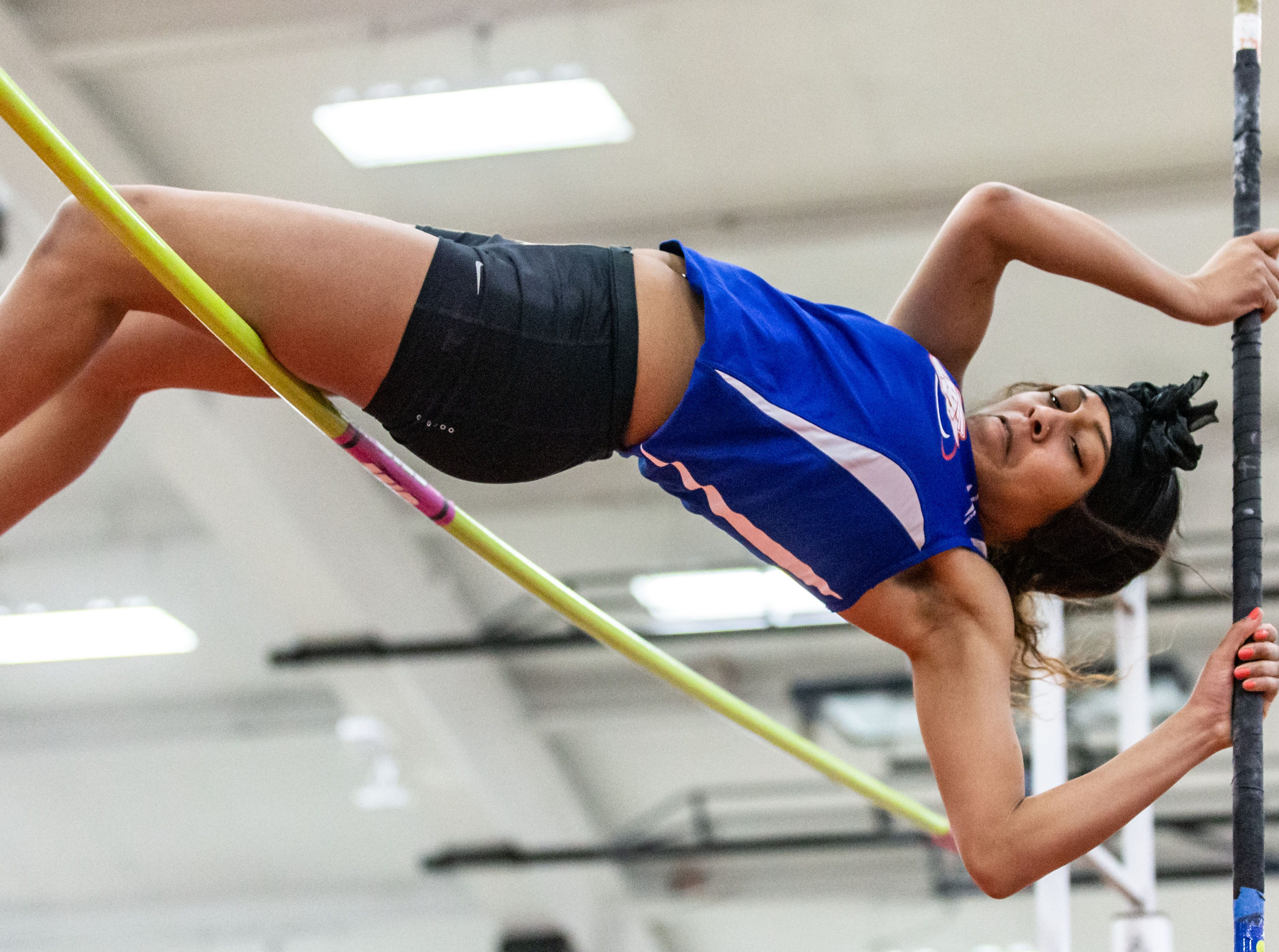 Wisconsin Lutheran's Niyah Williams competes in the pole vault at the Peter Rempe Cardinal Relays hosted by Waukesha South on Thursday, March 21, 2019.