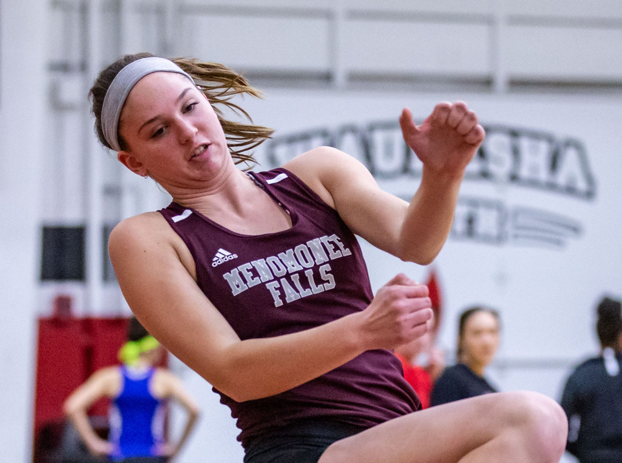 Menomonee Falls senior Haley Matthiessen competes in the high jump at the Peter Rempe Cardinal Relays hosted by Waukesha South on Thursday, March 21, 2019.