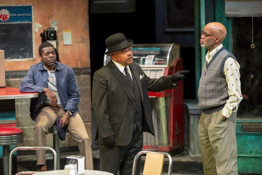 "Chiké Johnson, Doug Brown and Michael Anthony Williams perform in Milwaukee Repertory Theater's production of August Wilson's ""Two Trains Running"" in April."