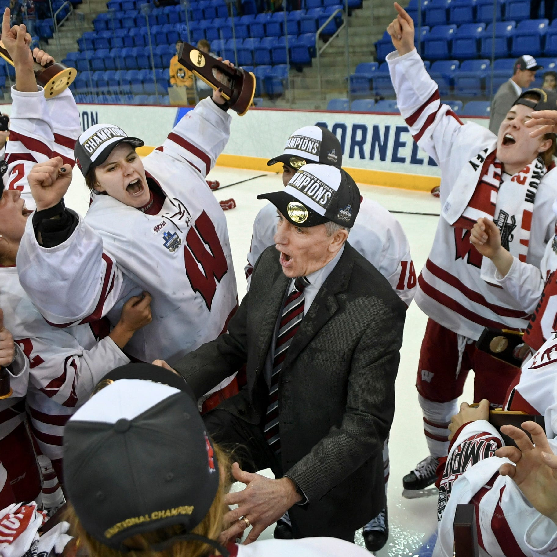 The NCAA women's hockey trophy is coming home to Wisconsin